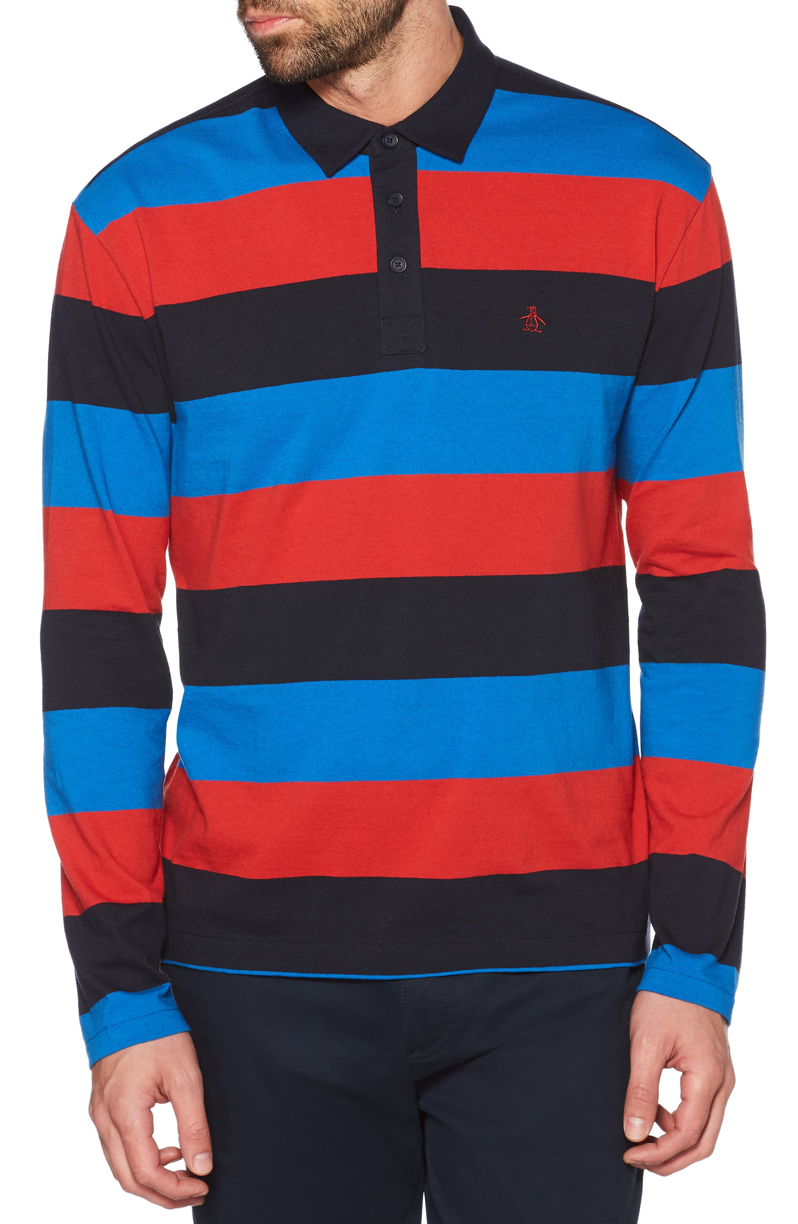 Rugby Stripe Long Sleeve Polo,                         Main,                         color, DARK SAPPHIRE