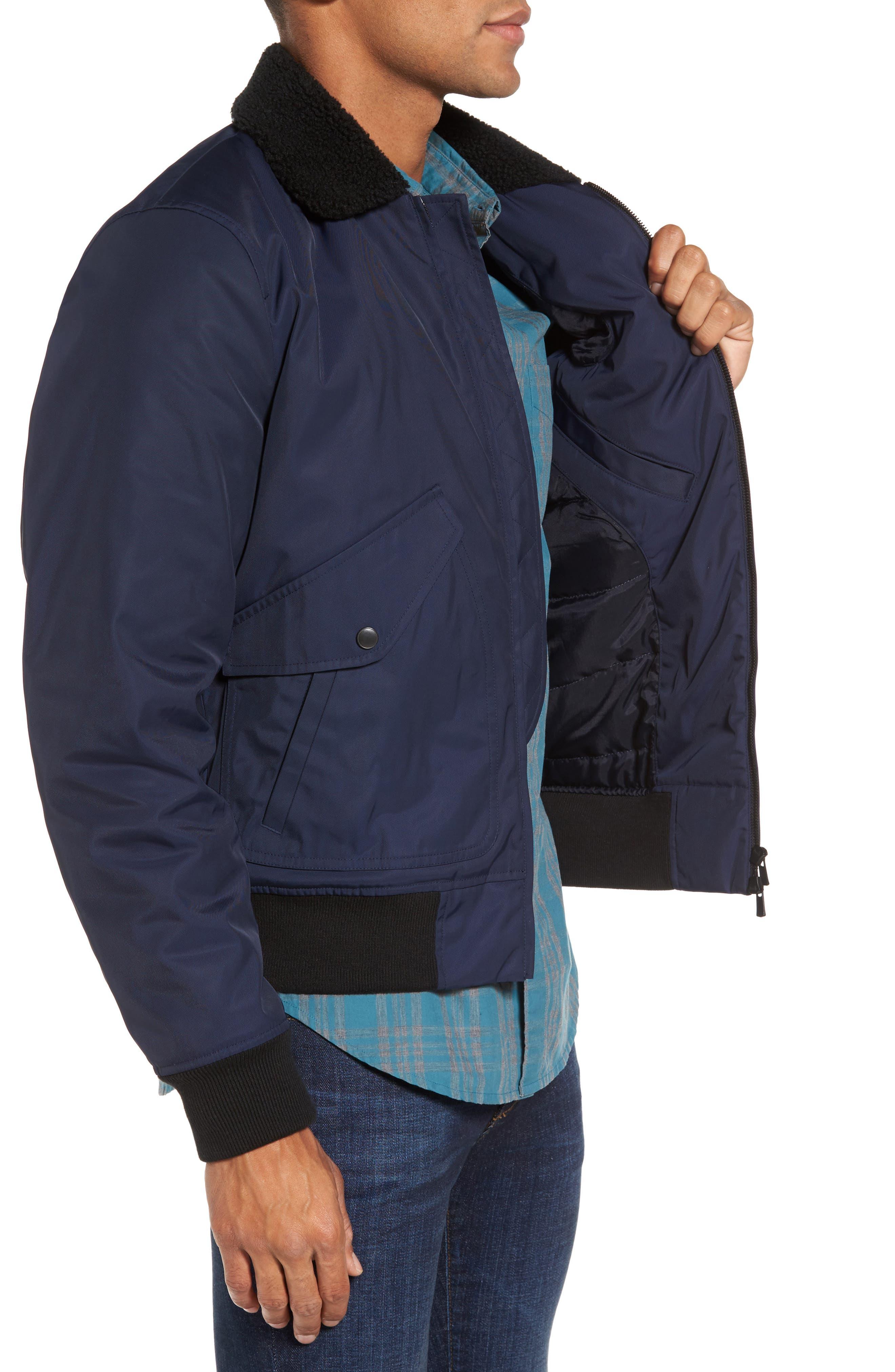 Faux Shearling Trim Bomber Jacket,                             Alternate thumbnail 3, color,