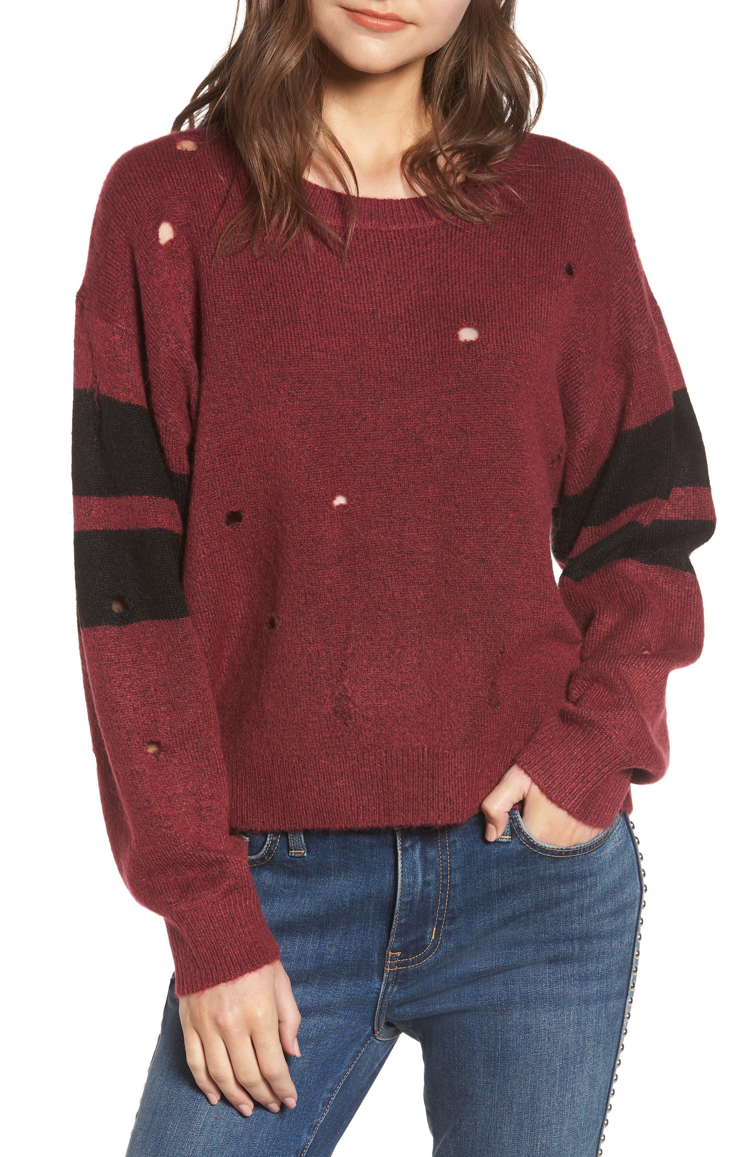 The Yates Sweater in Cordovan/ Black Stripes