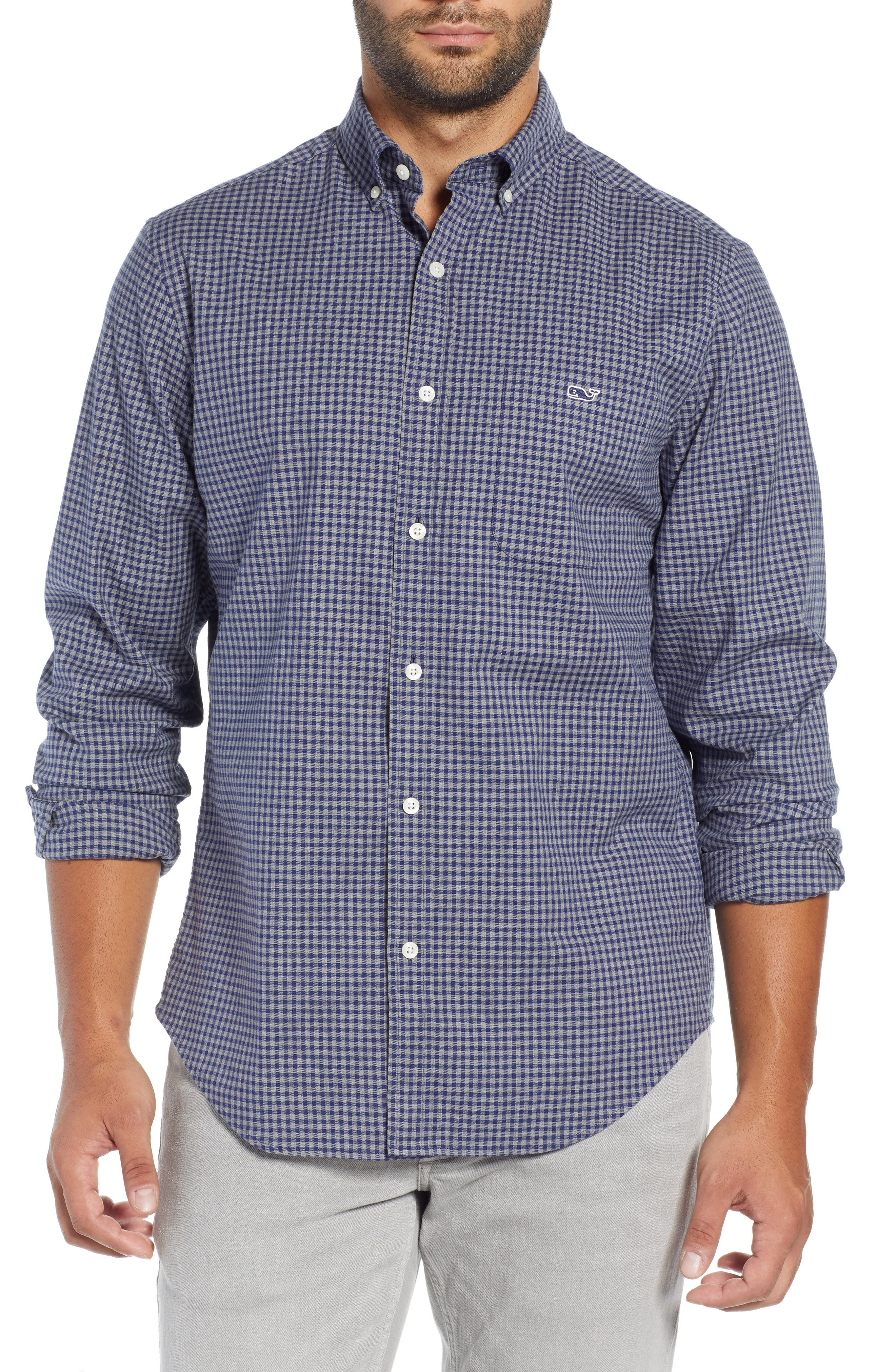 Pin Oak Tucker Gingham Classic Fit Button-Down Shirt in Evening Sky