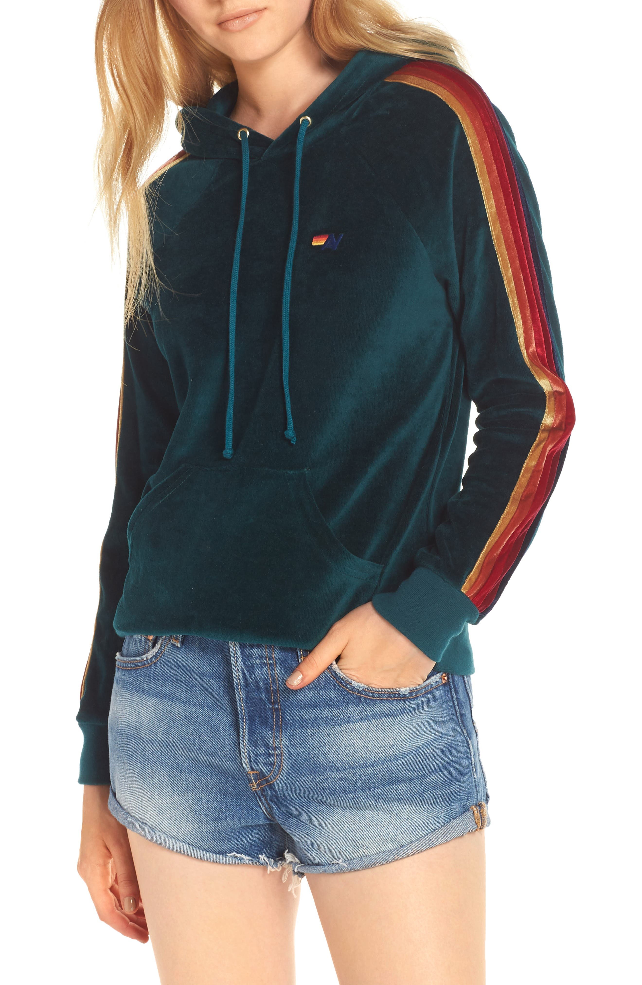 AVIATOR NATION Classic Velour Hoodie in Teal