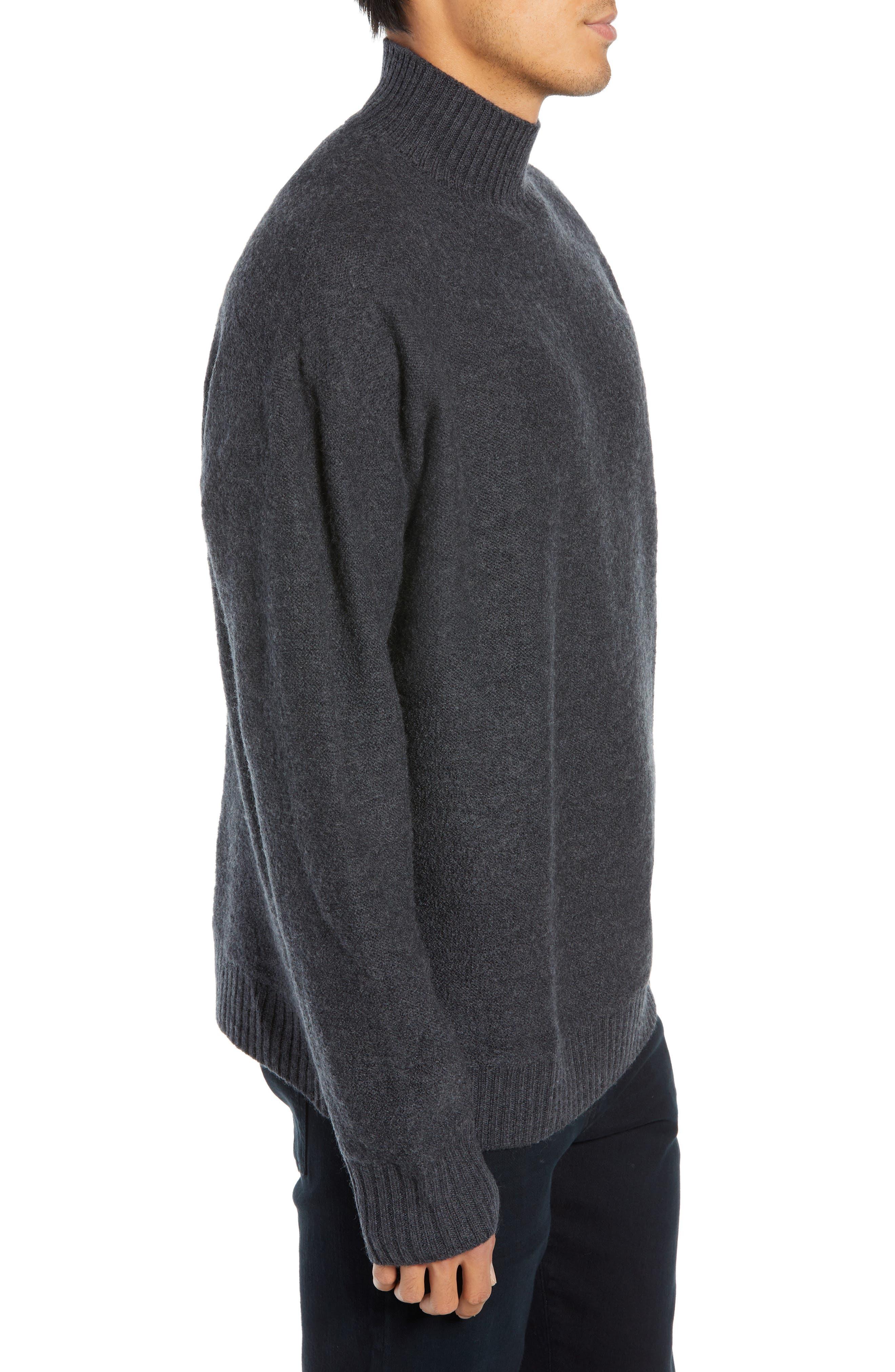 Bold Funnel Neck Wool Sweater,                             Alternate thumbnail 3, color,                             GREY MELANGE