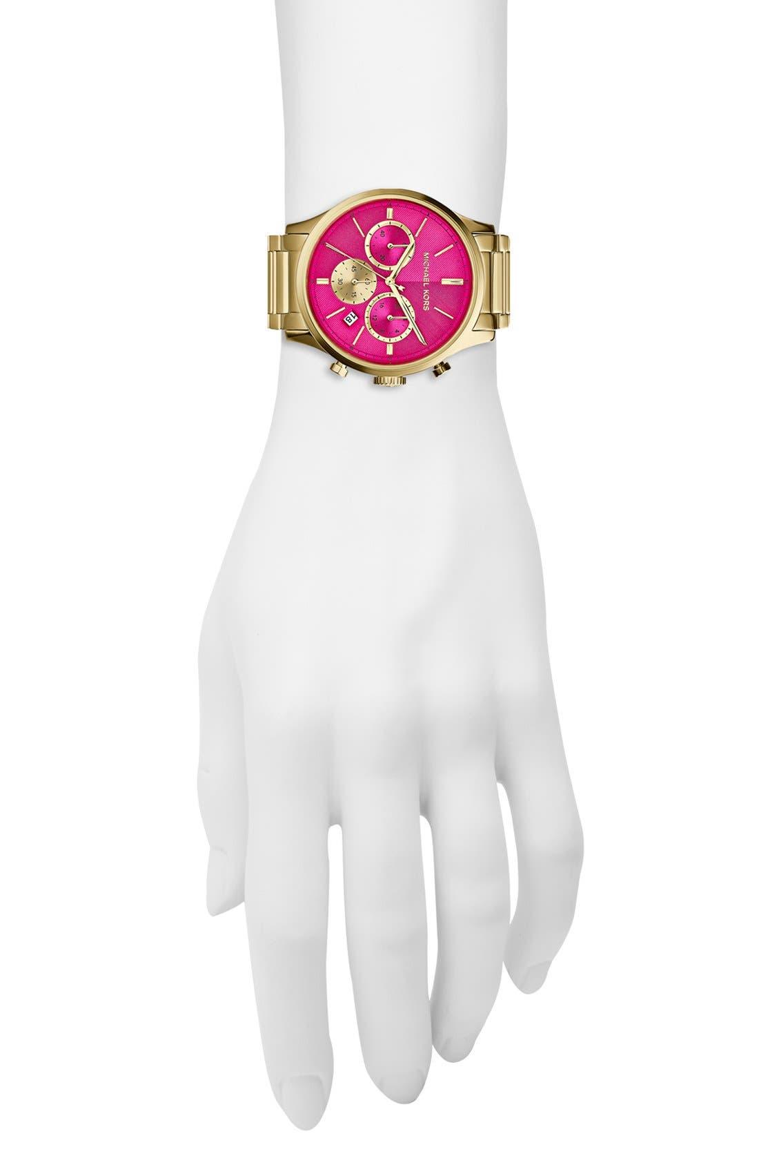 MICHAEL MICHAEL KORS,                             Michael Kors 'Bailey' Chronograph Bracelet Watch, 44mm,                             Alternate thumbnail 4, color,                             710