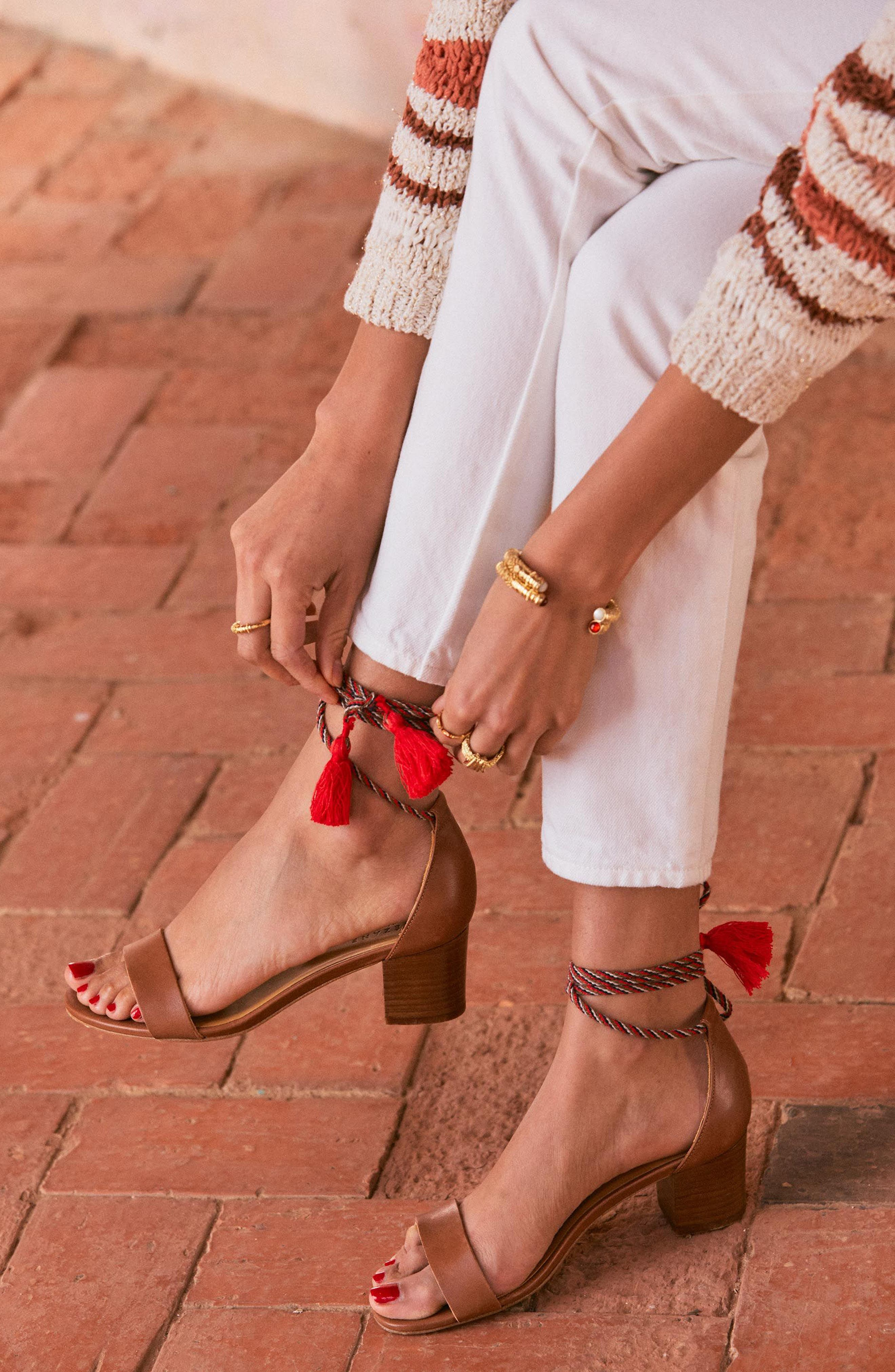 Lorenzo Ankle Wrap Block Heel Sandal,                             Alternate thumbnail 6, color,                             CAMEL LEATHER