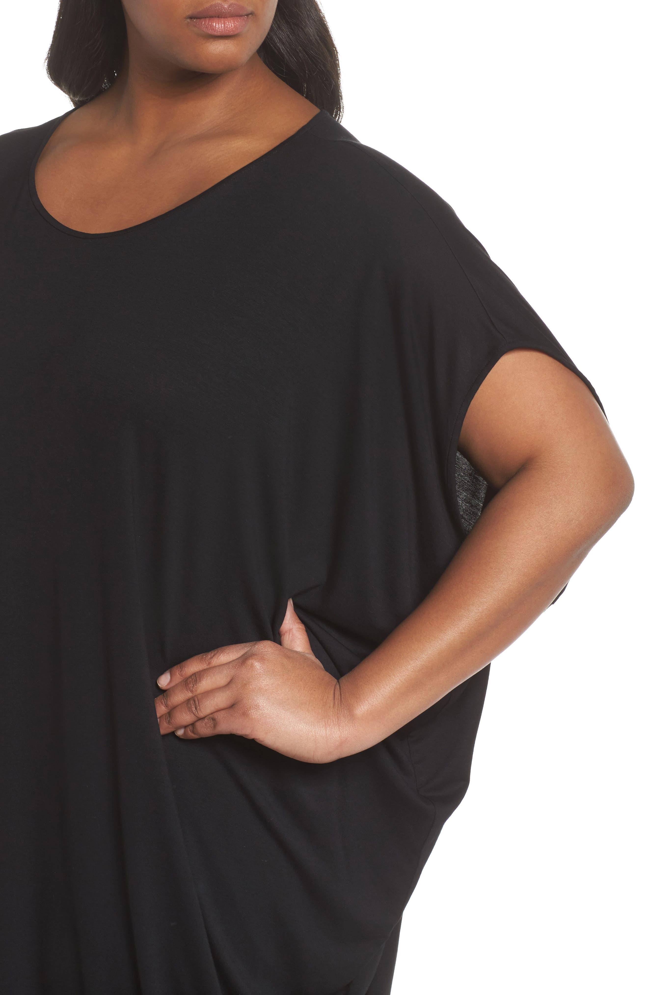 Asymmetrical Drape Jersey Dress,                             Alternate thumbnail 4, color,                             001