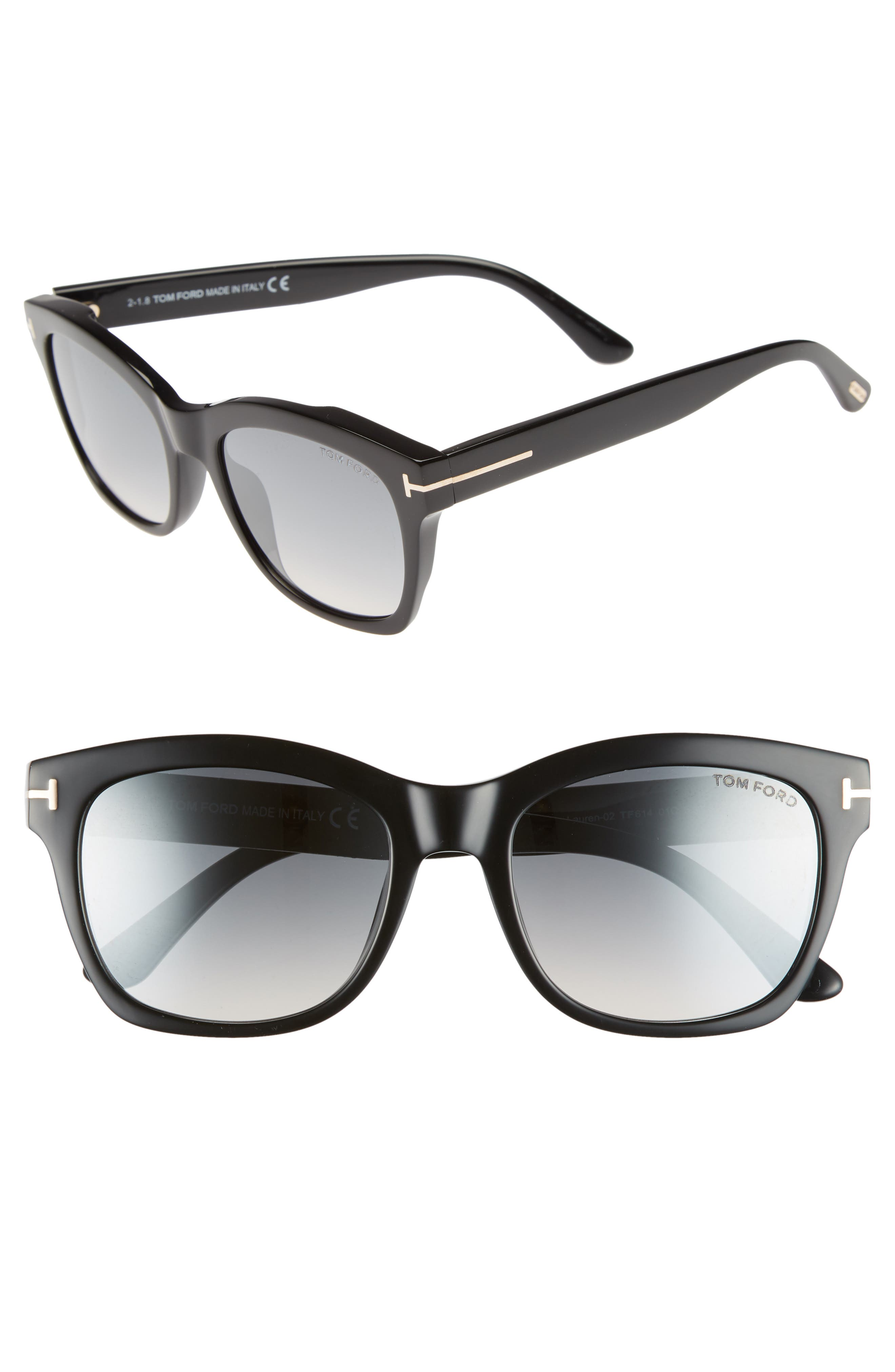 Lauren 52mm Sunglasses,                             Main thumbnail 1, color,                             SHINY BLACK/ SMOKE MIRROR