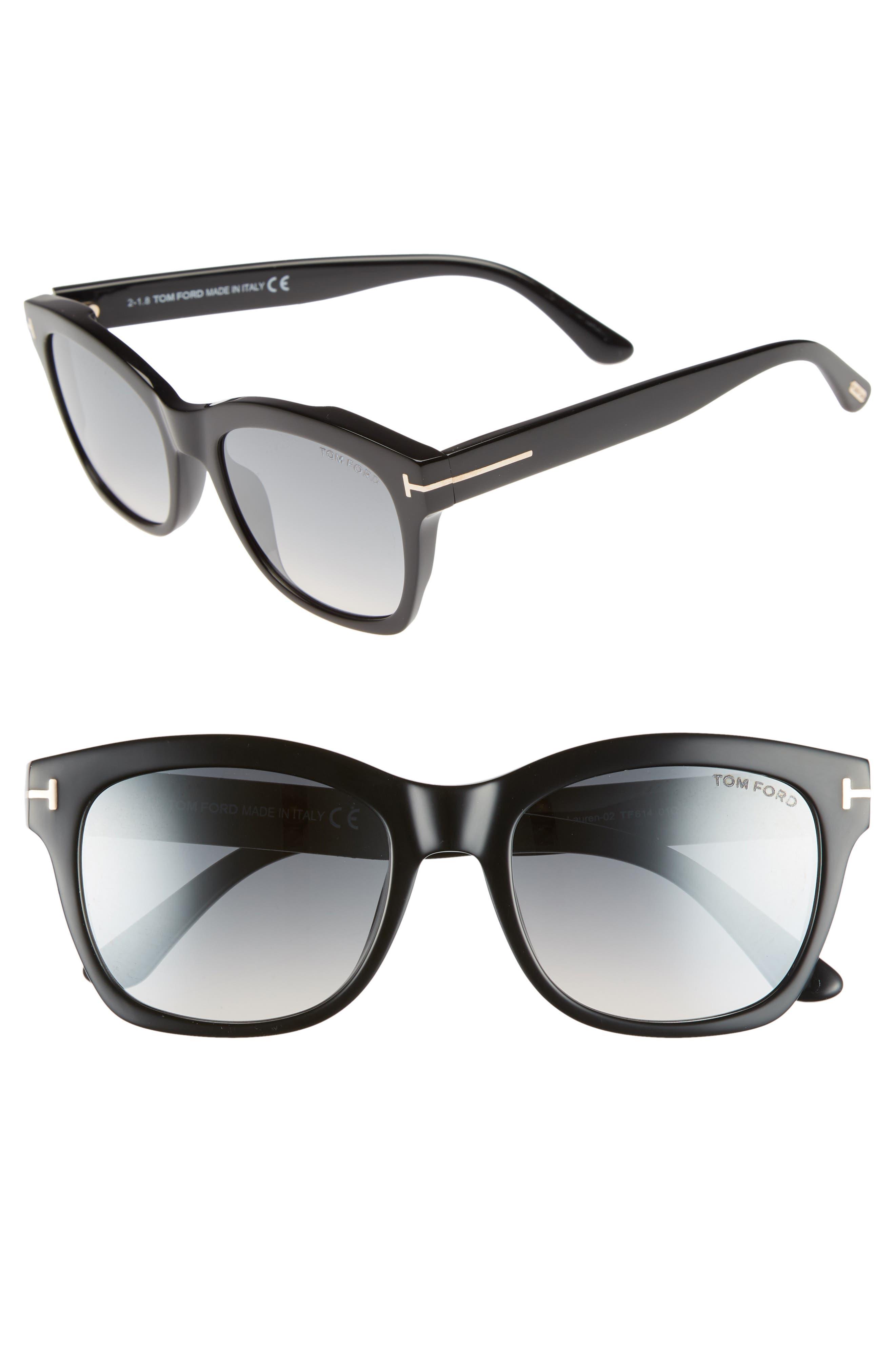 Lauren 52mm Sunglasses,                         Main,                         color, SHINY BLACK/ SMOKE MIRROR