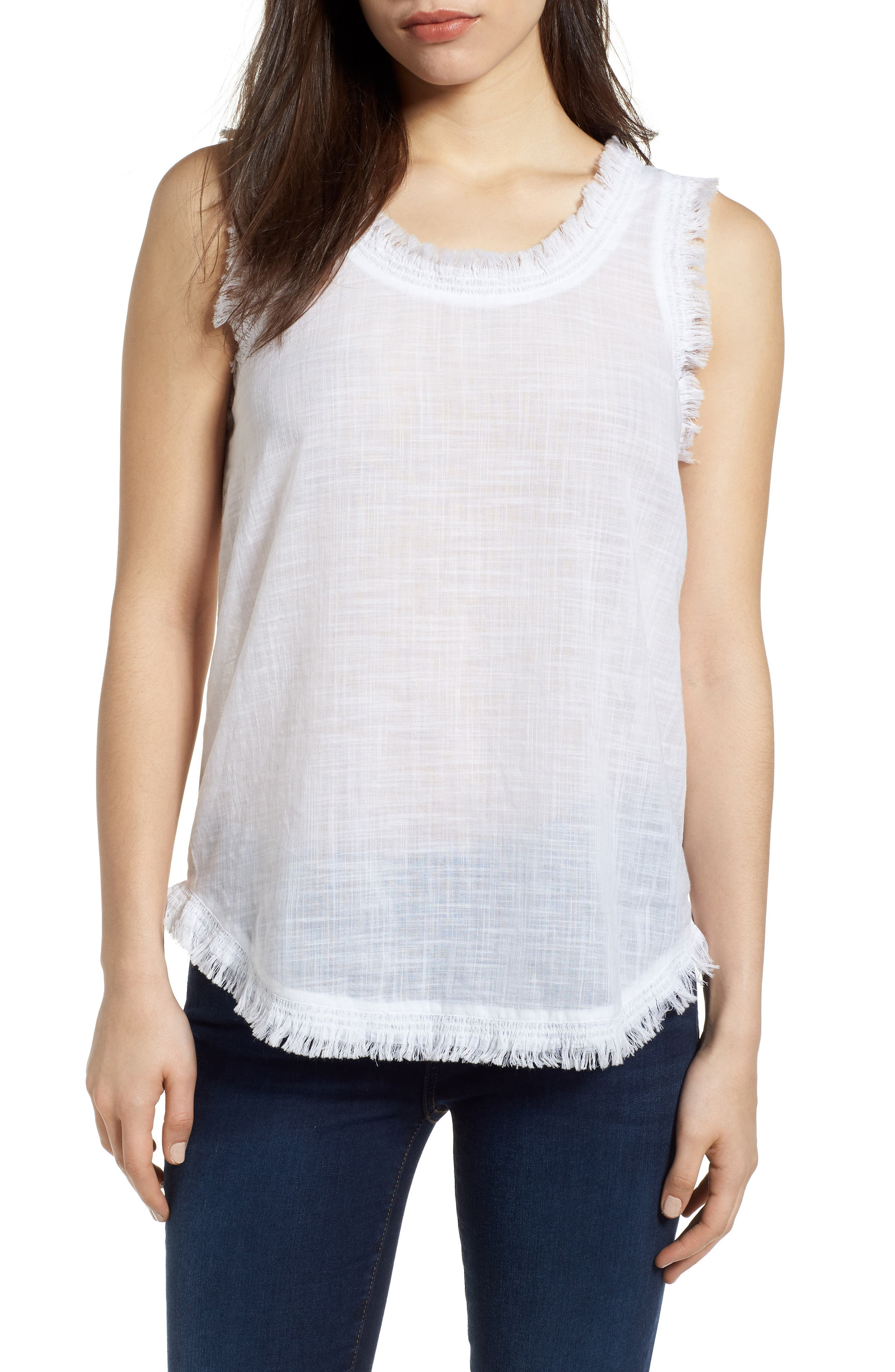 Frayed Tank,                         Main,                         color, WHITE