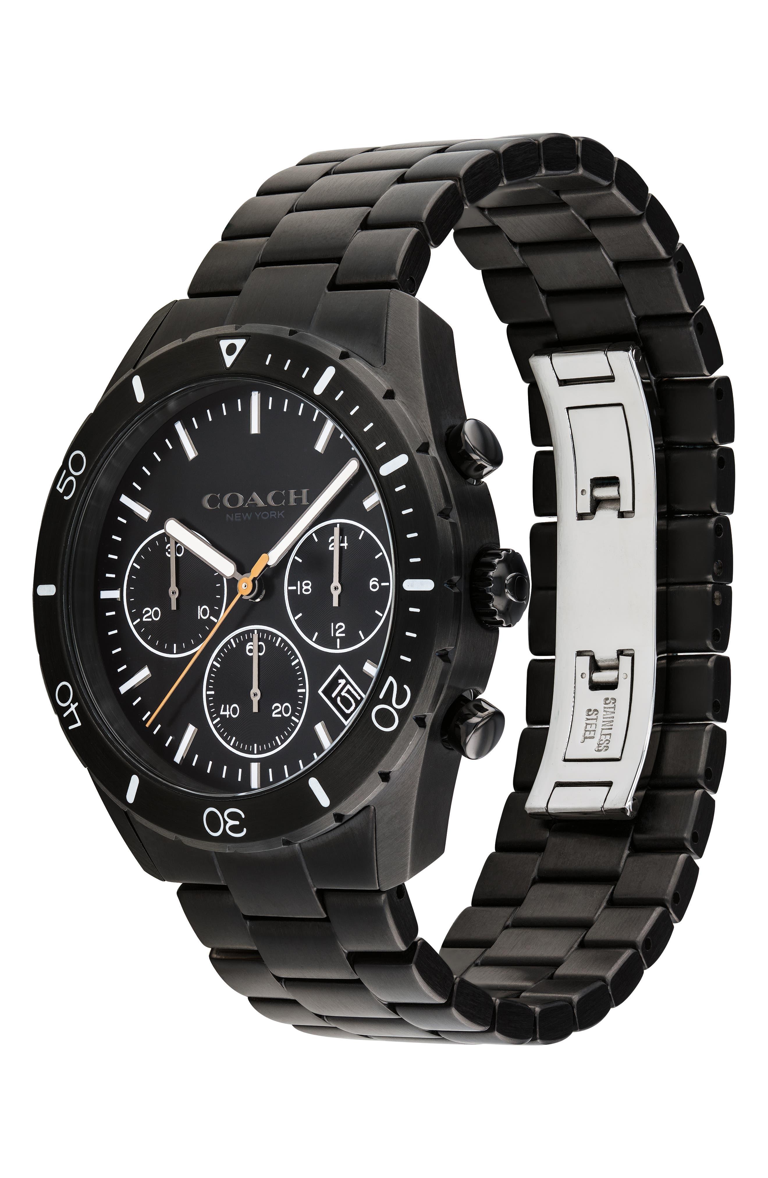 Thompson Sport Chronograph Bracelet Watch, 41mm,                             Alternate thumbnail 3, color,                             BLACK