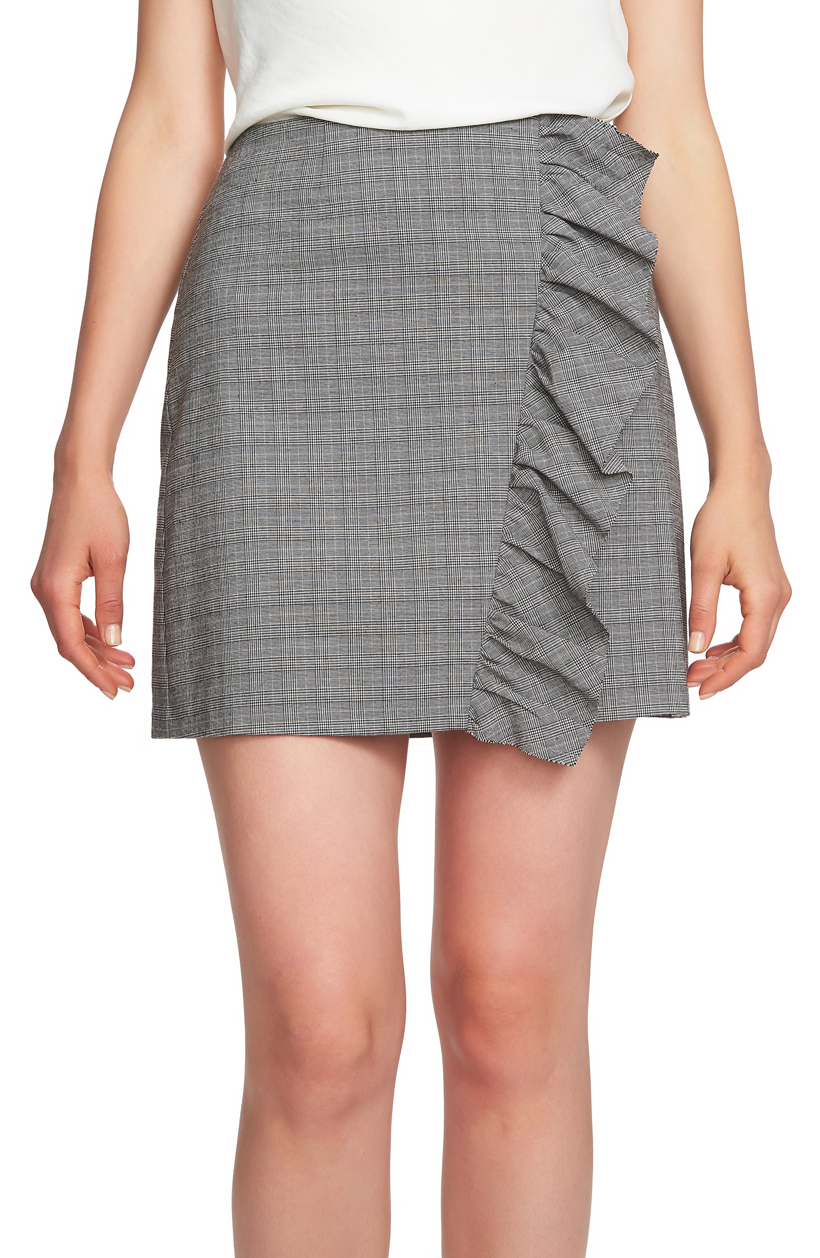 1.state Glen Plaid Ruffle Plaid Miniskirt