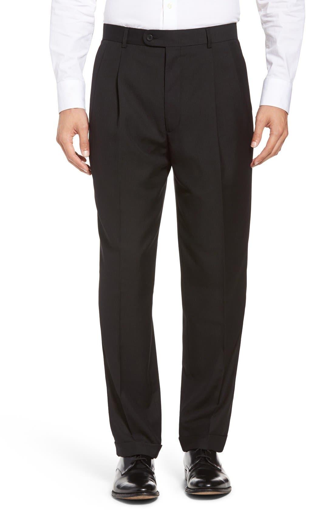 Pleated Microfiber Dress Pants,                             Main thumbnail 1, color,