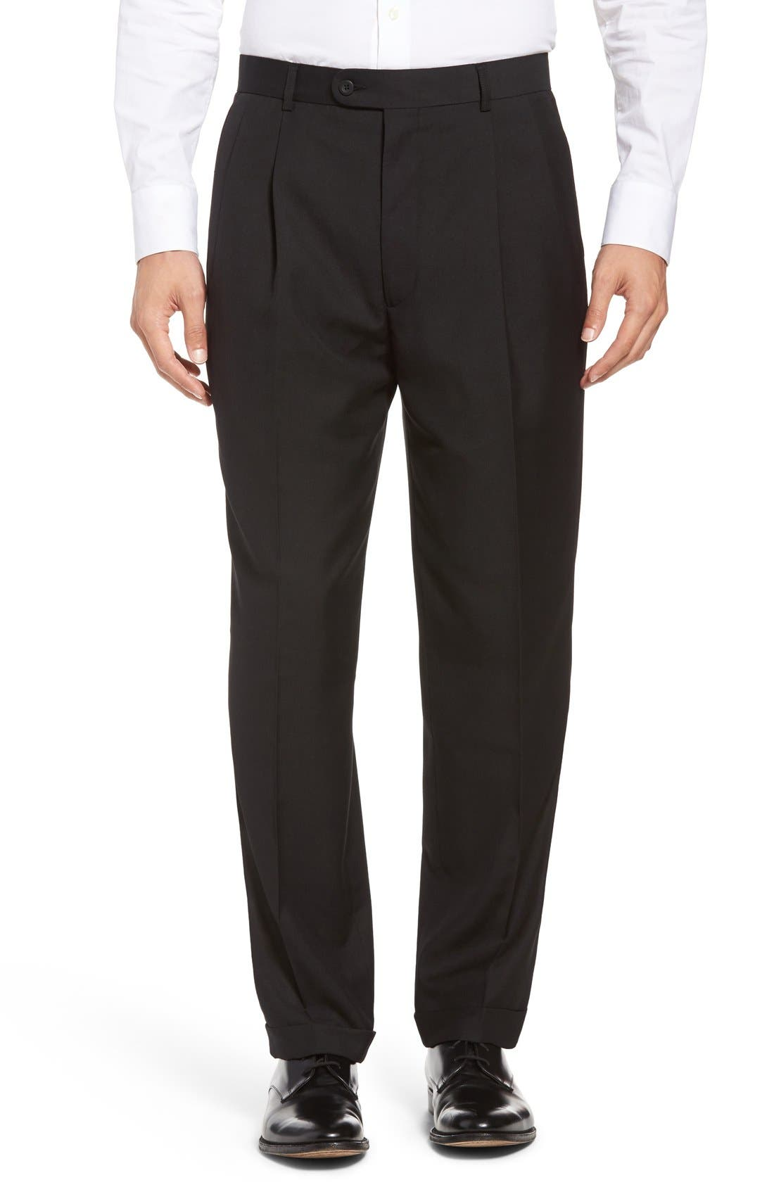 Pleated Microfiber Dress Pants,                         Main,                         color,