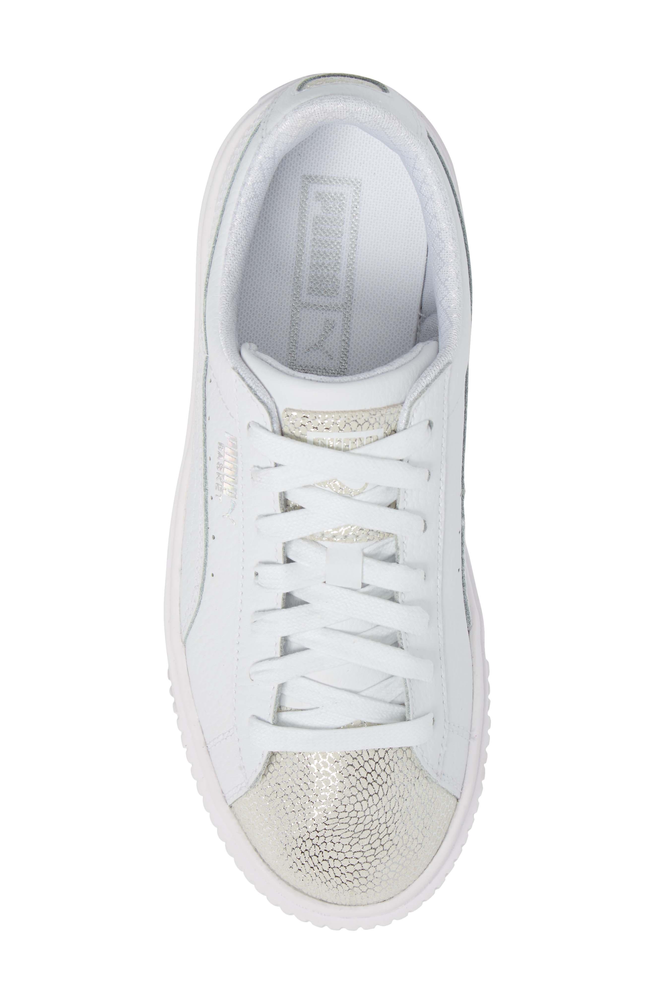 Basket Glitz Platform Sneaker,                             Alternate thumbnail 5, color,                             100