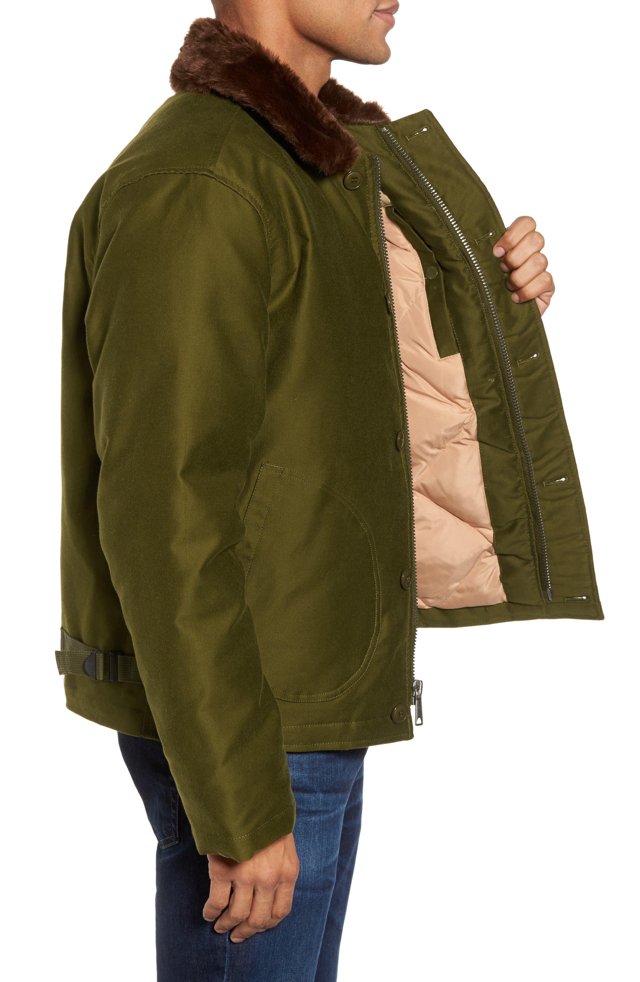 SCHOTT NYC,                             Faux Fur Collar Water-Repellent Corduroy Down Jacket,                             Alternate thumbnail 3, color,                             252