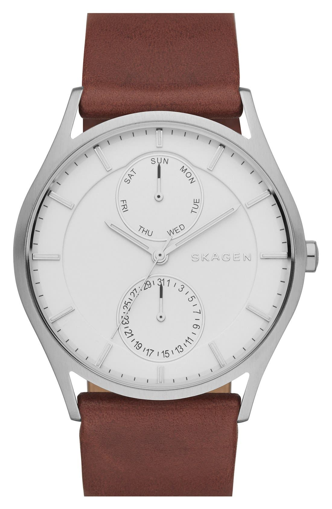 'Holst' Multifunction Leather Strap Watch, 40mm,                             Main thumbnail 3, color,