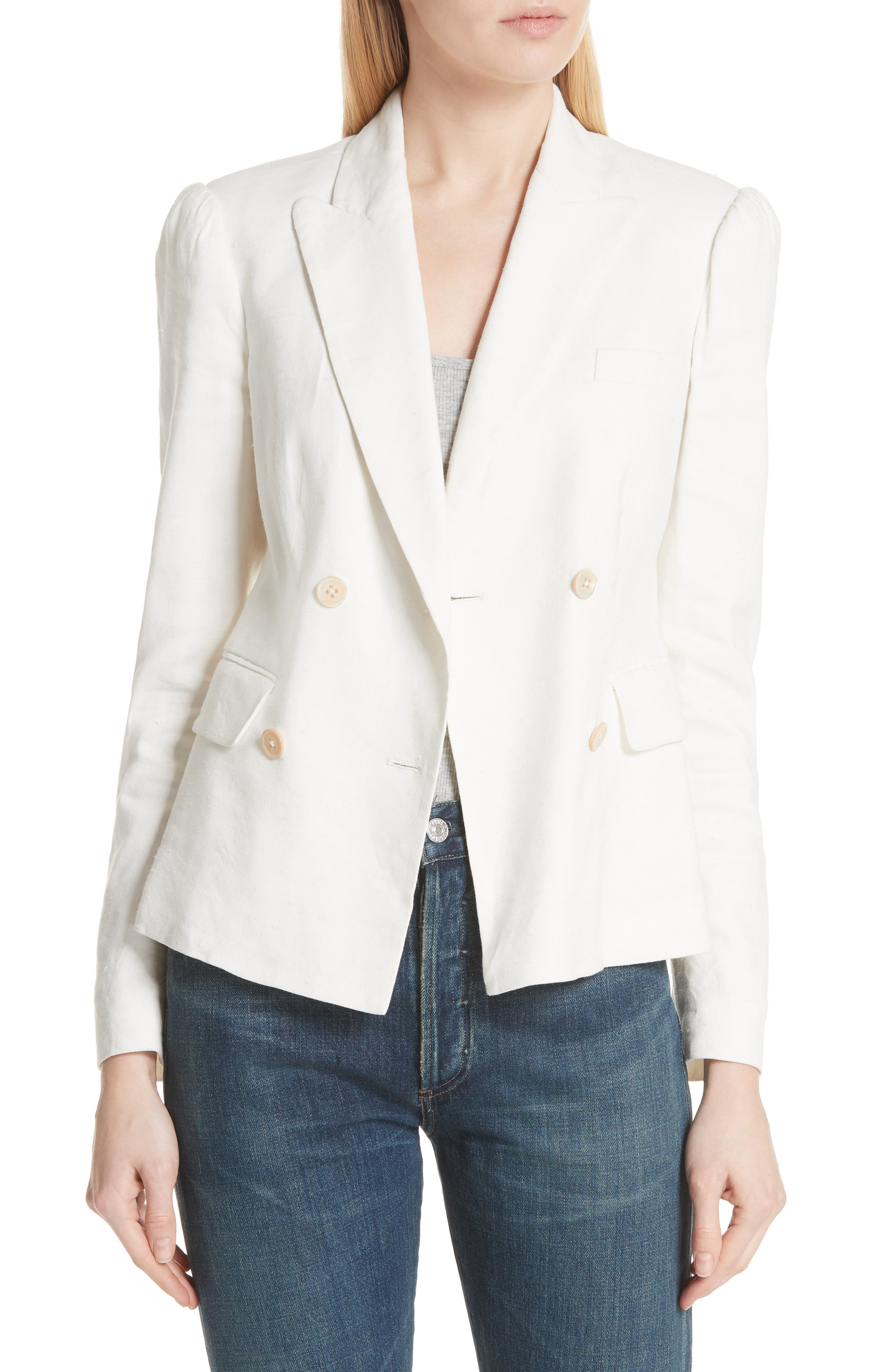 Stretch Linen Blend Blazer,                             Main thumbnail 1, color,                             115