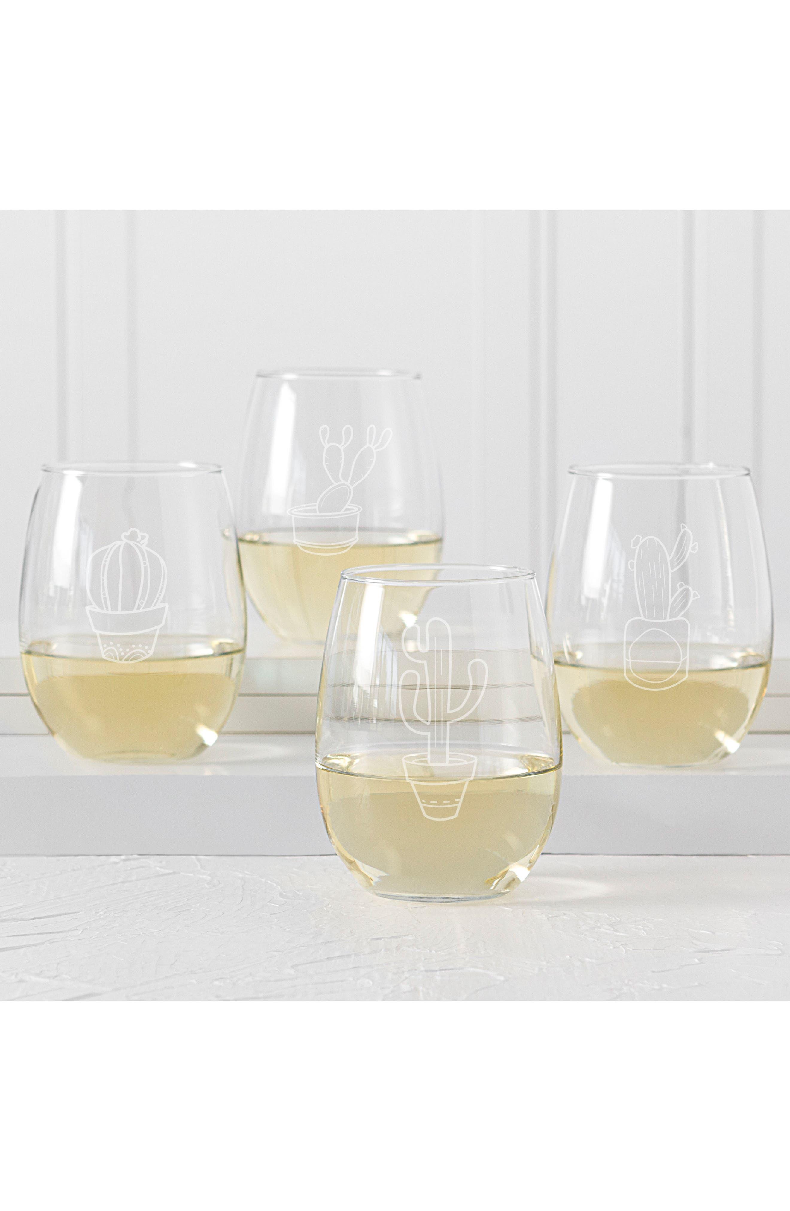 Cactus Set of 4 Stemless Wine Glasses,                             Alternate thumbnail 3, color,                             100