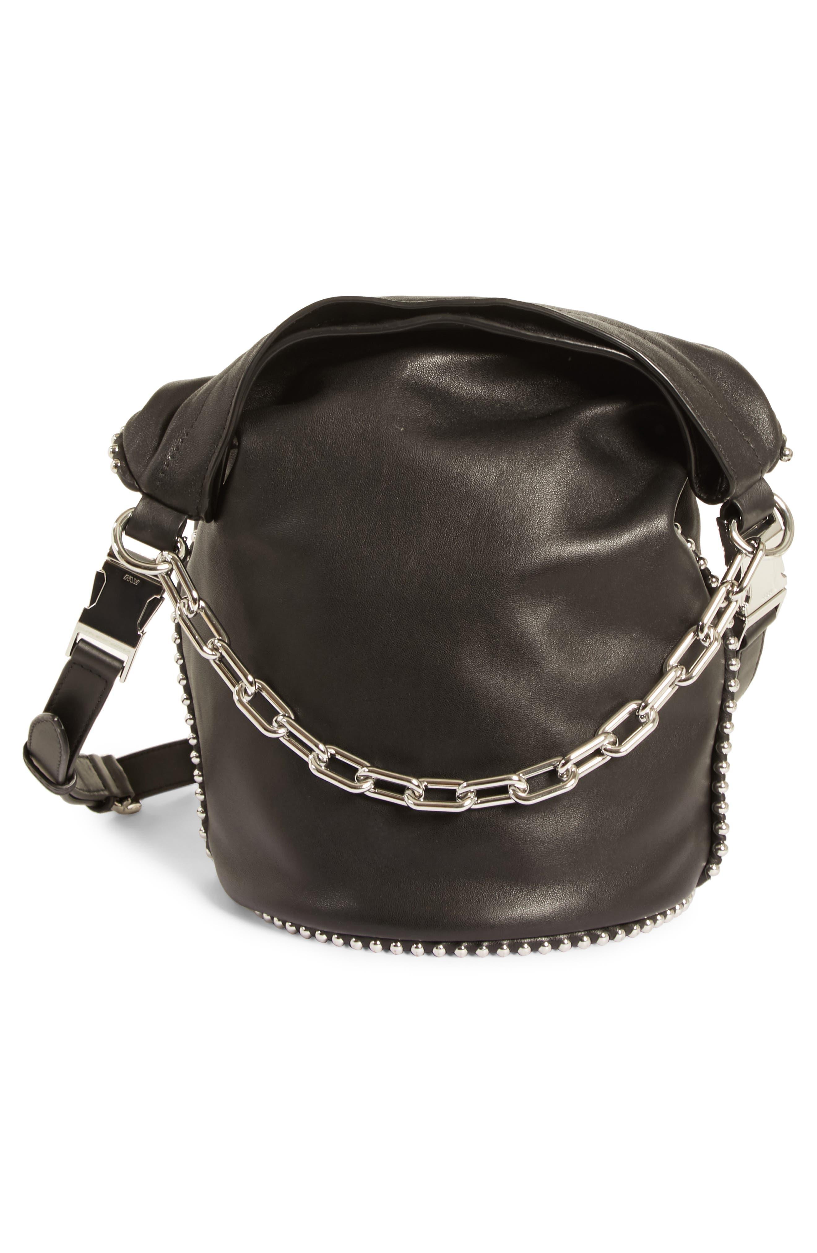 Attica Dry Sack Leather Bucket Bag,                             Alternate thumbnail 3, color,                             BLACK