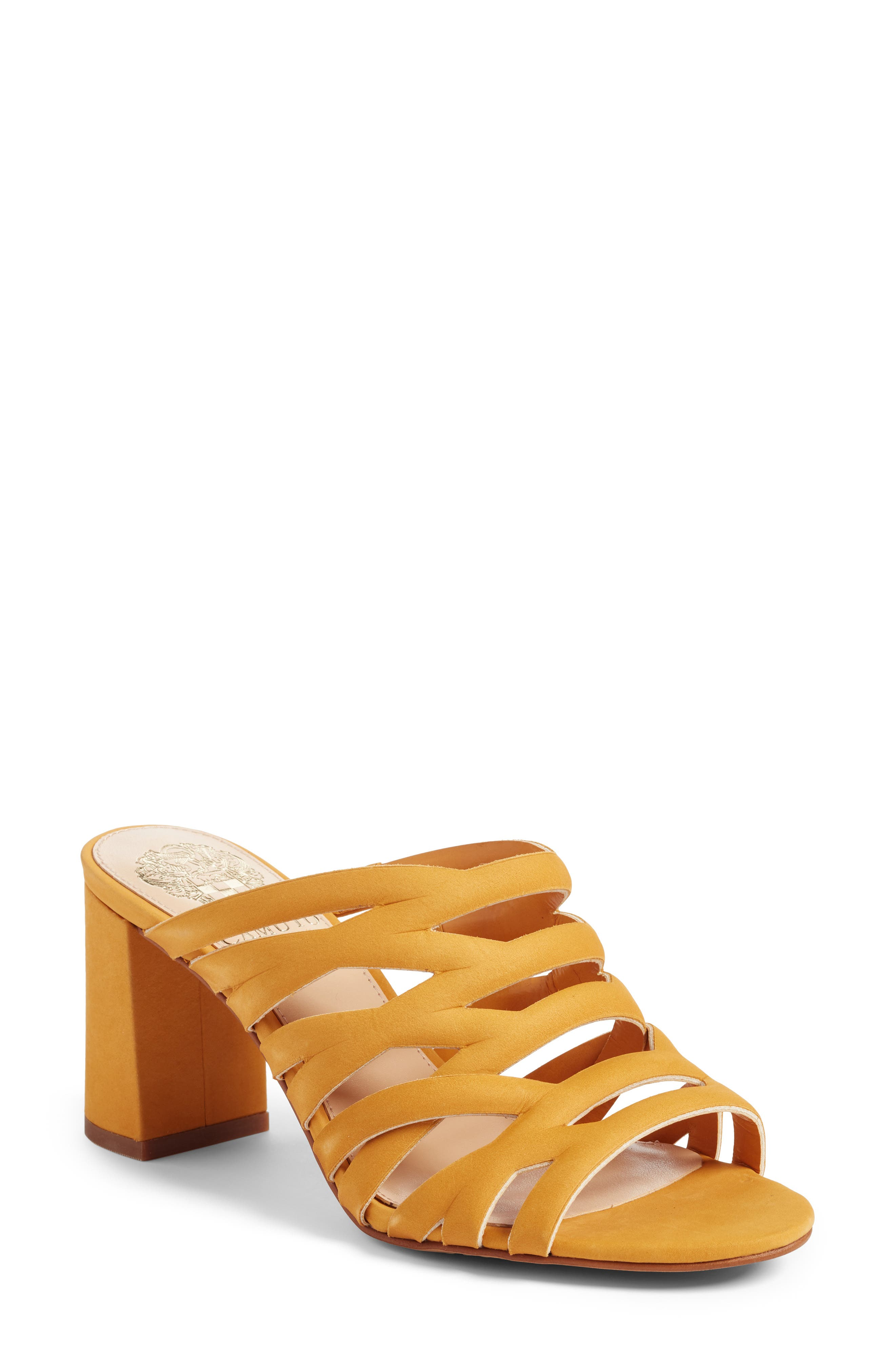 Raveana Cage Mule,                             Main thumbnail 1, color,                             MUSTARD YELLOW LEATHER