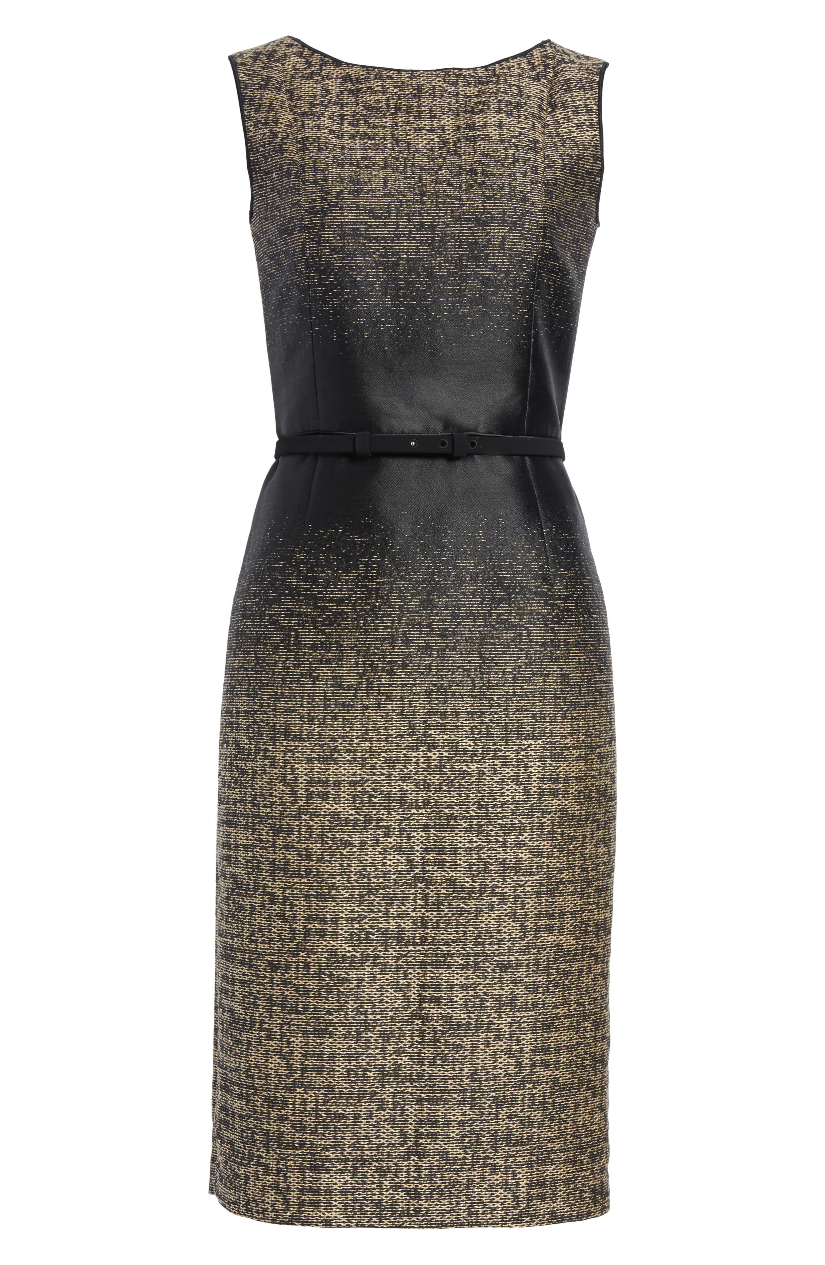 Paulette Jacquard Sheath Dress,                             Alternate thumbnail 6, color,                             001