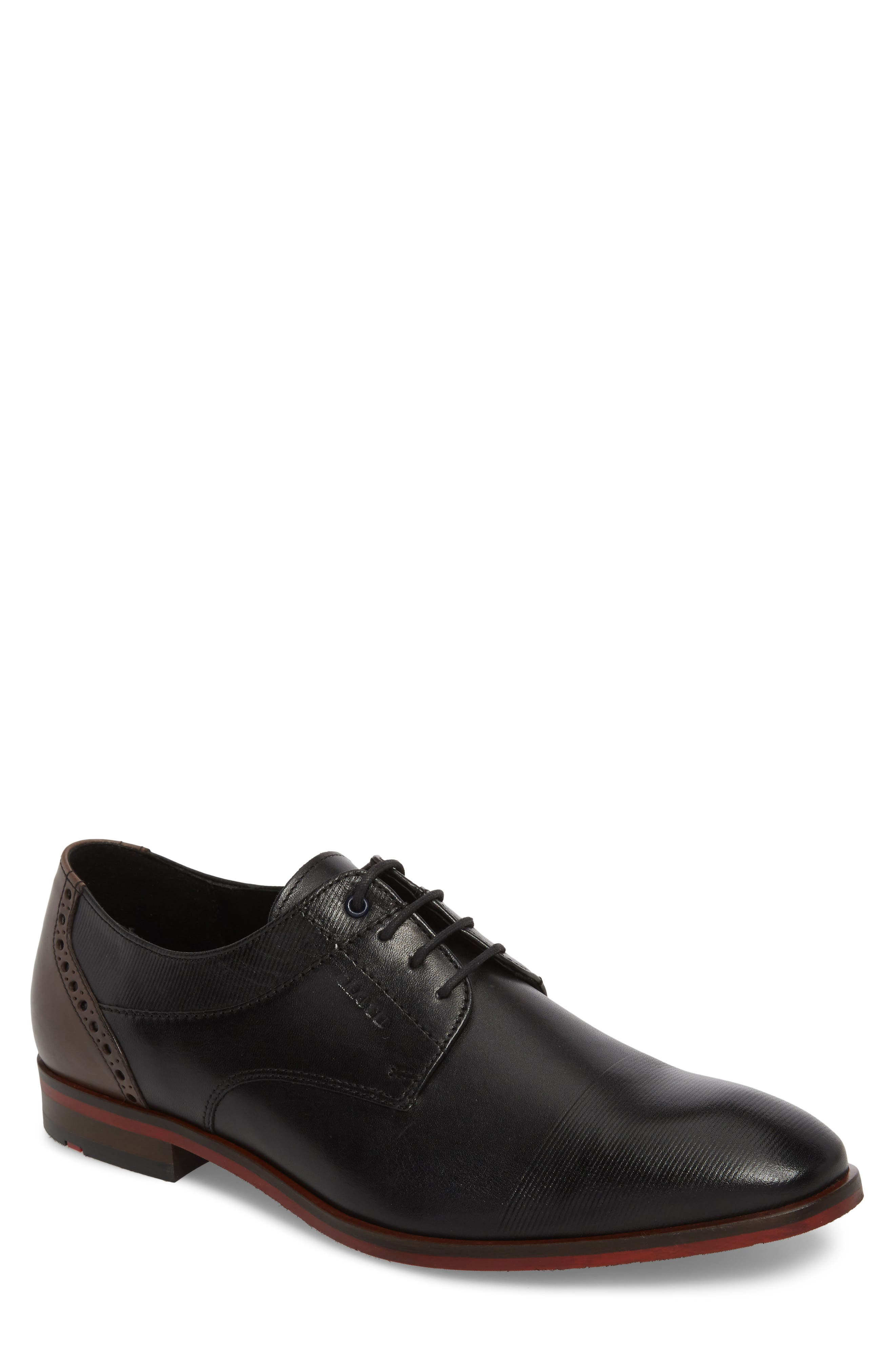 Henley Embossed Cap Toe Derby,                             Main thumbnail 1, color,                             BLACK/ BLUE LEATHER