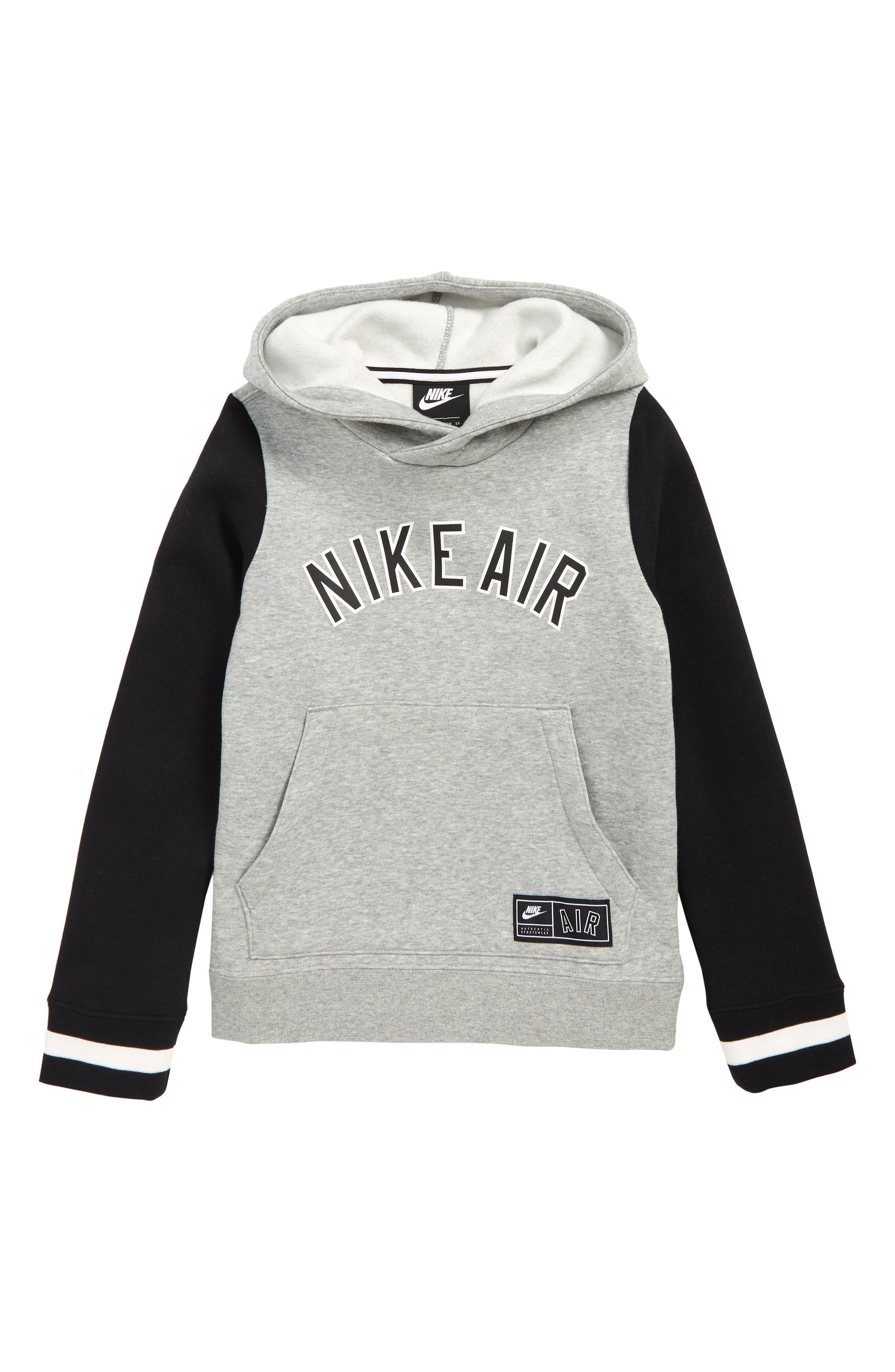 NIKE,                             Air Logo Hoodie,                             Main thumbnail 1, color,                             DARK GREY HEATHER/ BLACK