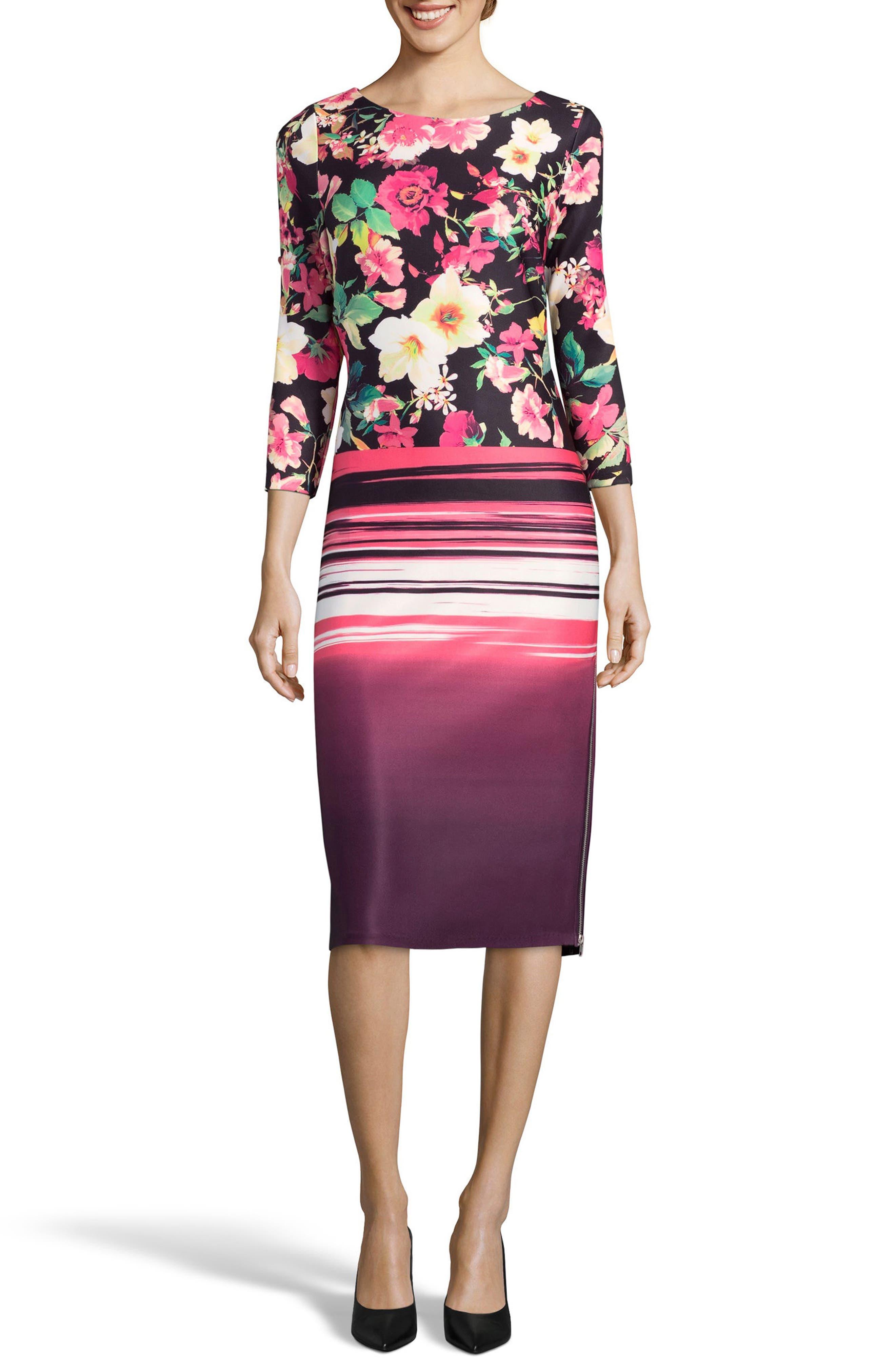 Print Sheath Dress,                             Main thumbnail 1, color,