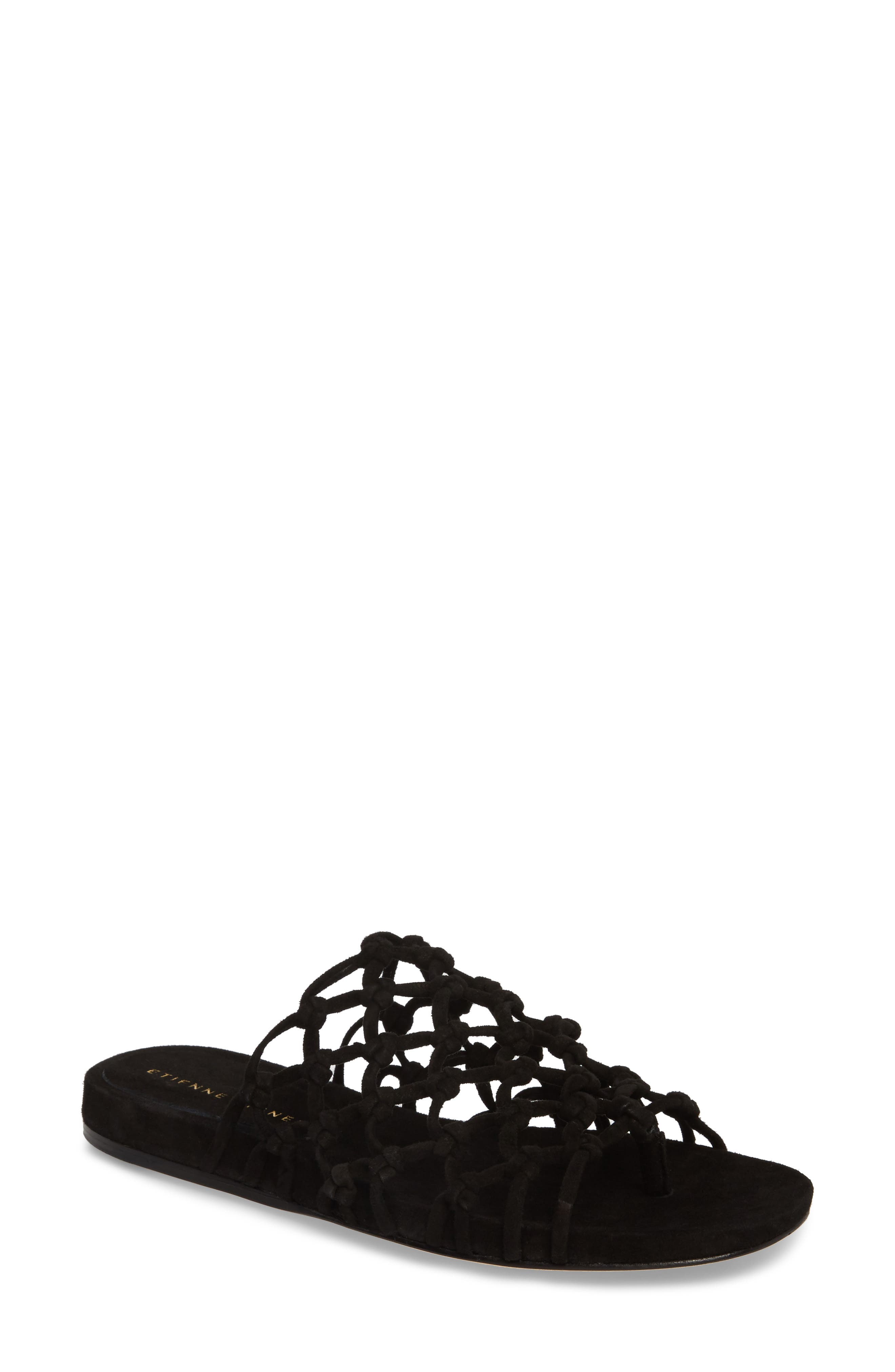 Aruba Slide Sandal,                         Main,                         color, BLACK SUEDE