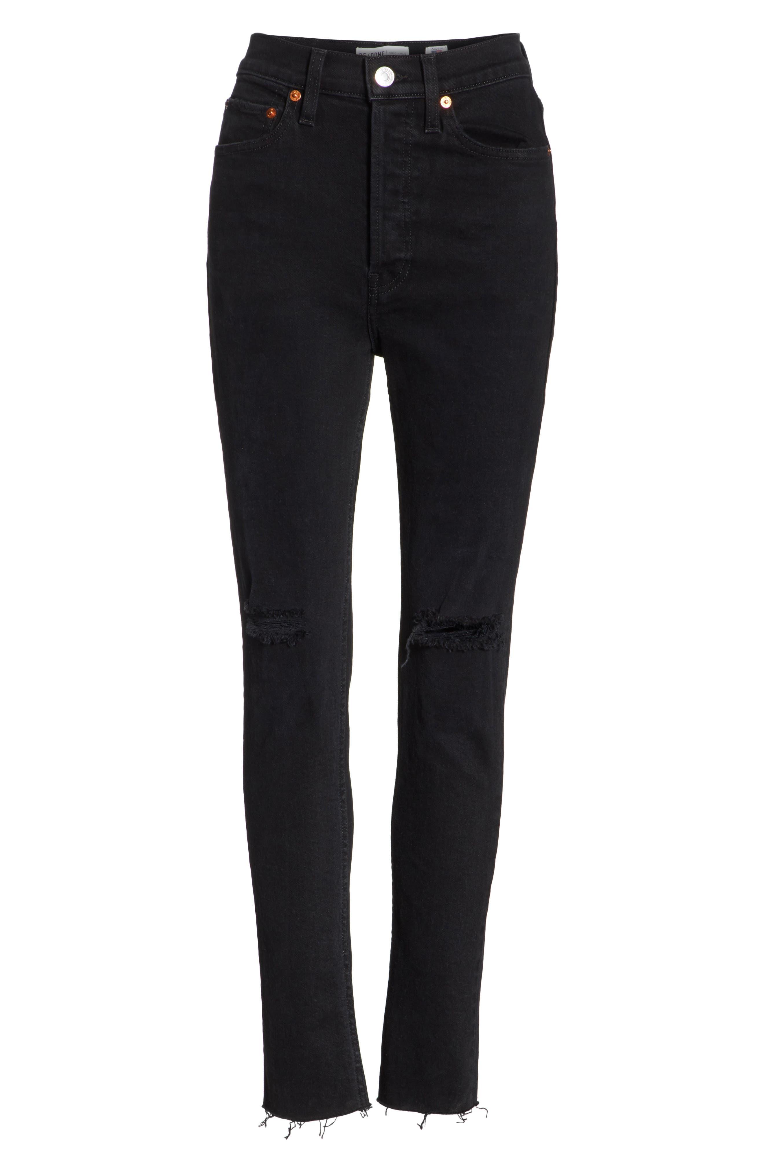 High Waist Stretch Ankle Jeans,                             Alternate thumbnail 7, color,                             BLACK DESTROY
