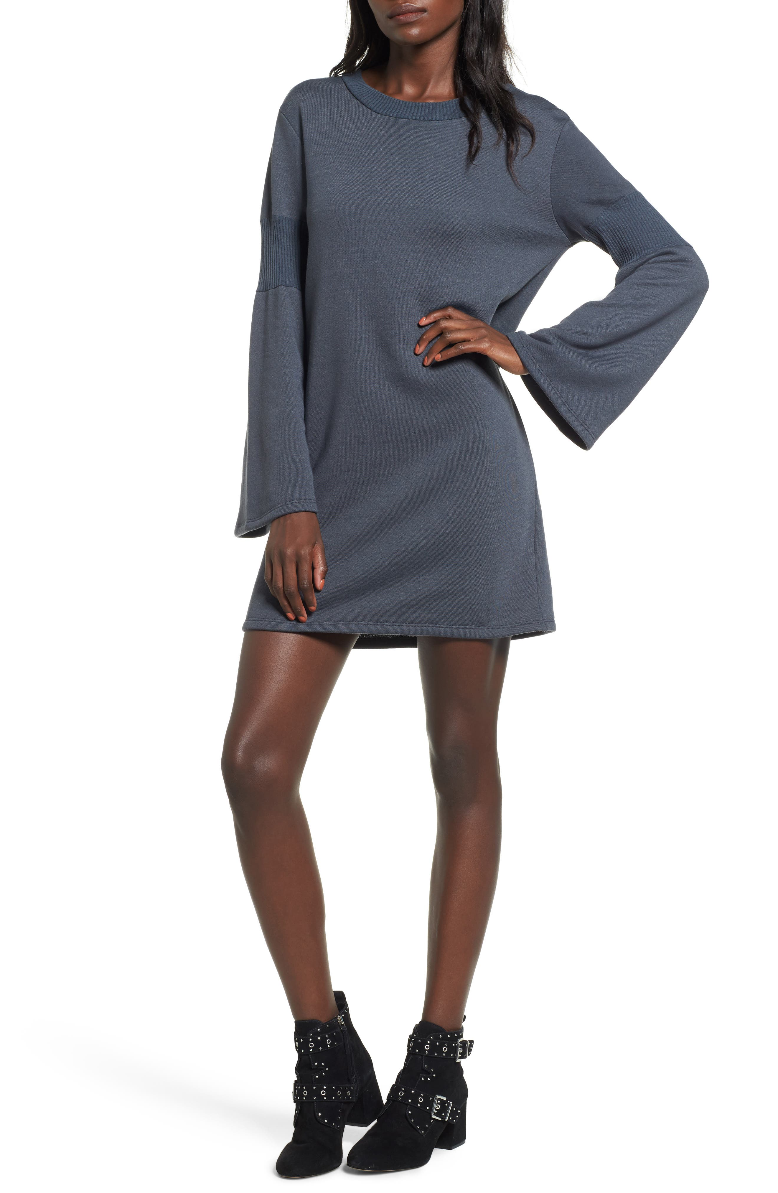 Bell Sleeve Sweatshirt Dress,                         Main,                         color, 020