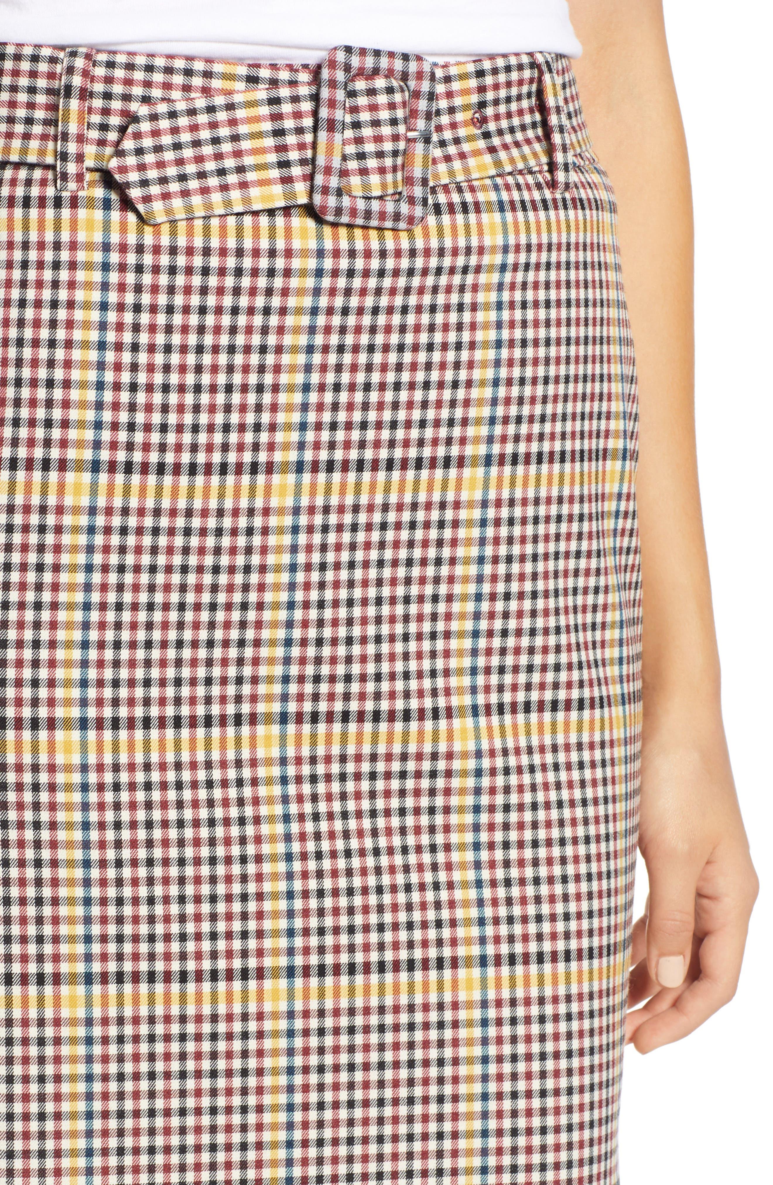 Plaid Pencil Skirt,                             Alternate thumbnail 4, color,                             601