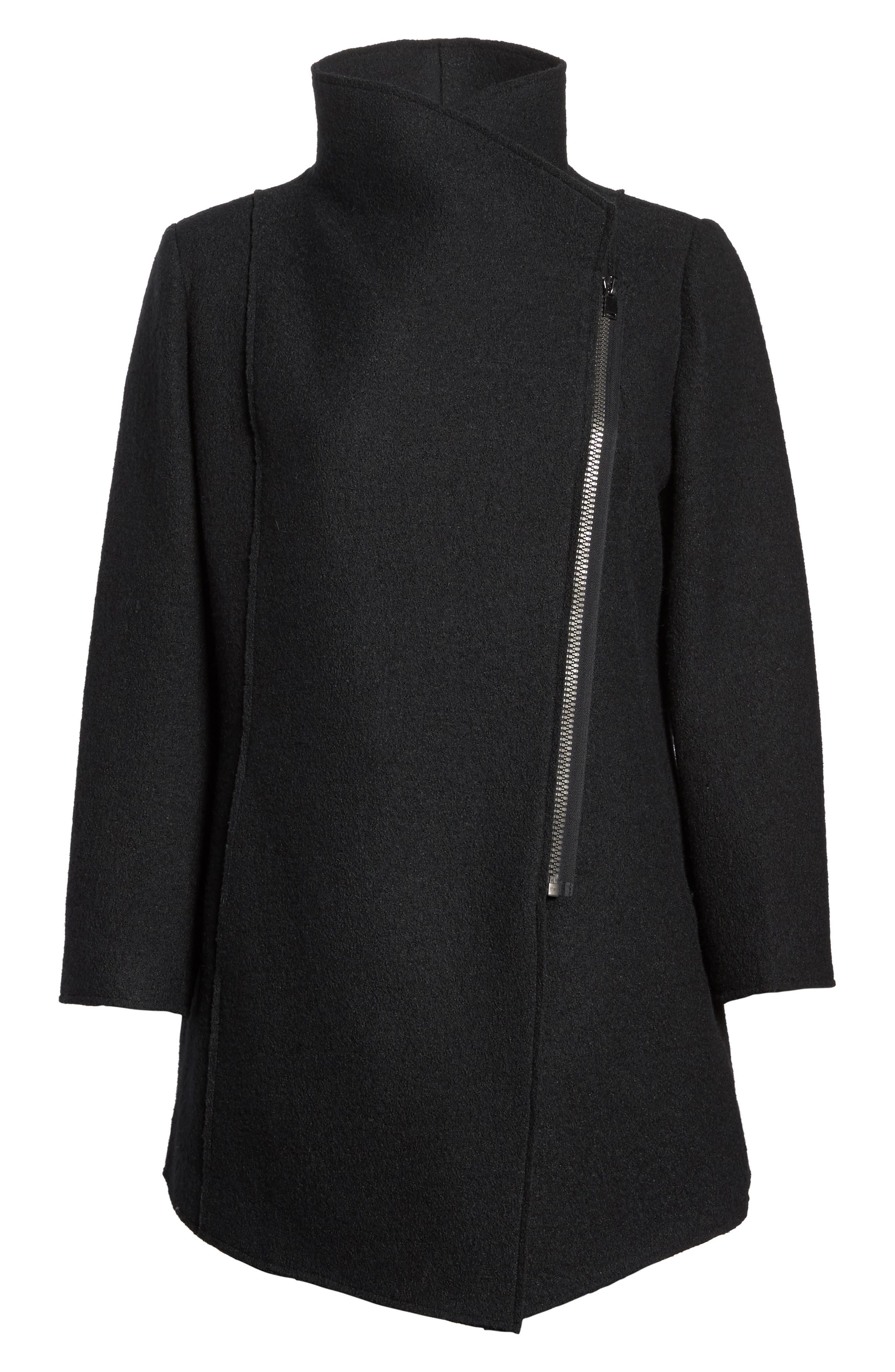 Asymmetrical Zip Boiled Wool Blend Coat,                             Alternate thumbnail 5, color,                             001