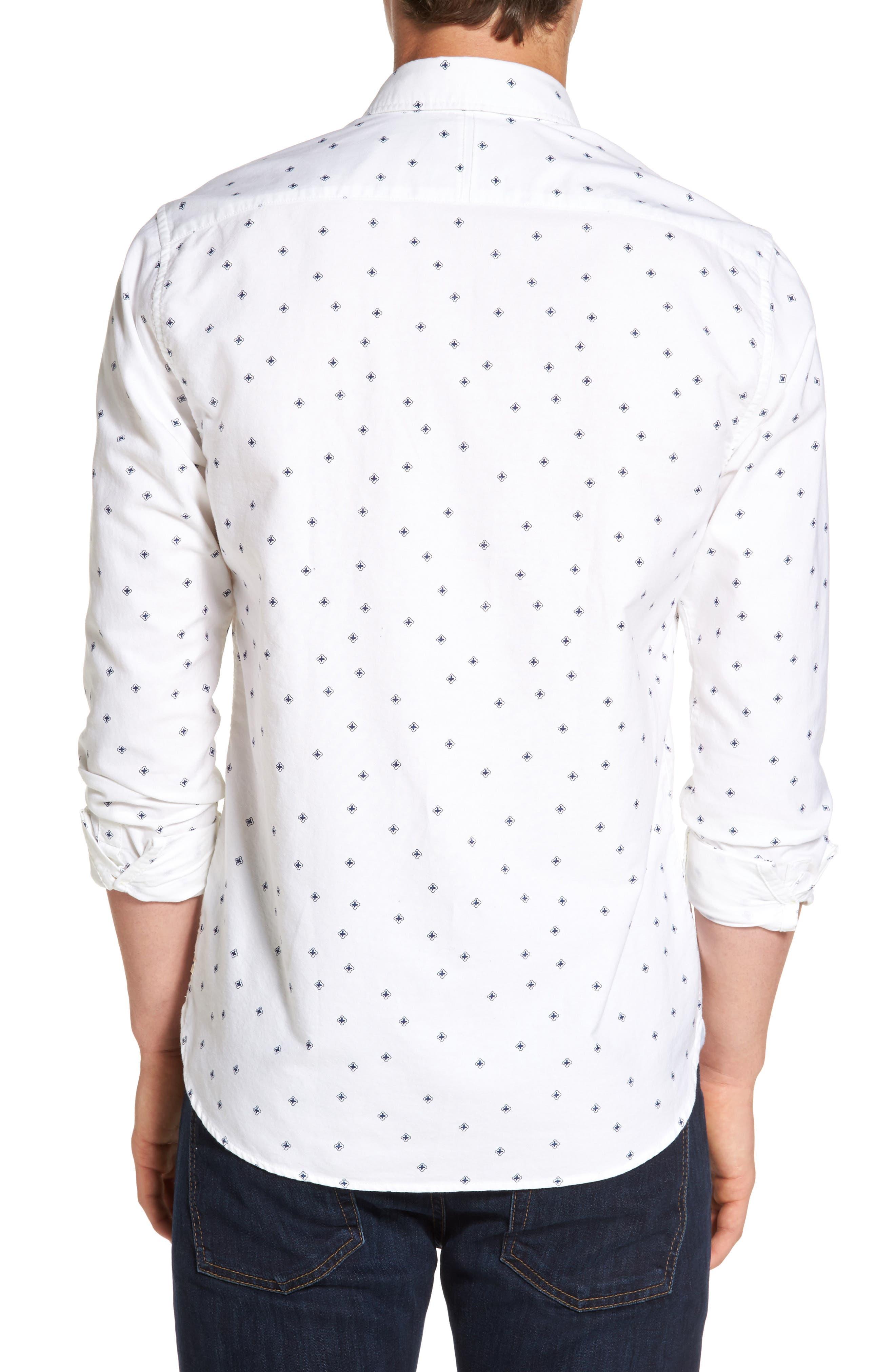 Slim Fit Allover Print Shirt,                             Alternate thumbnail 2, color,                             110