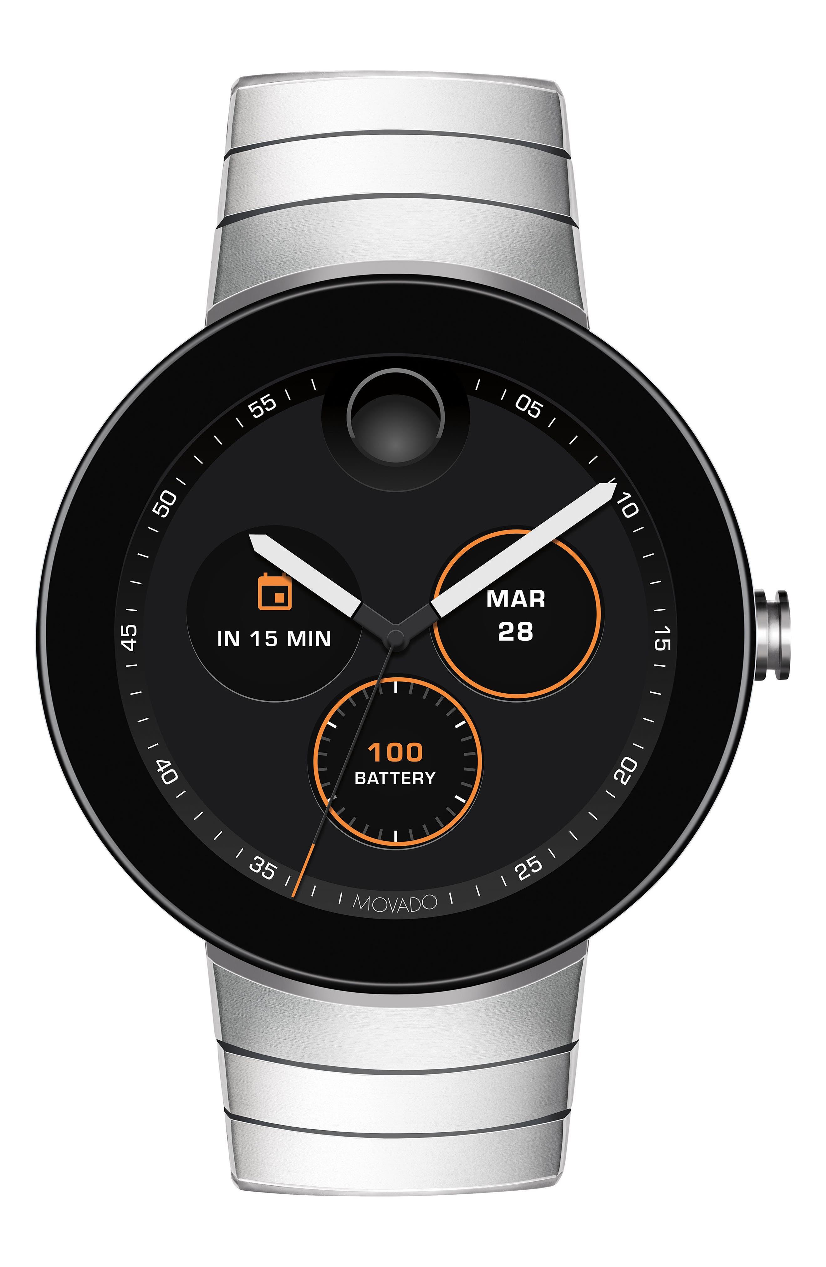 Connect Bracelet Smart Watch, 46mm,                             Alternate thumbnail 5, color,                             SILVER