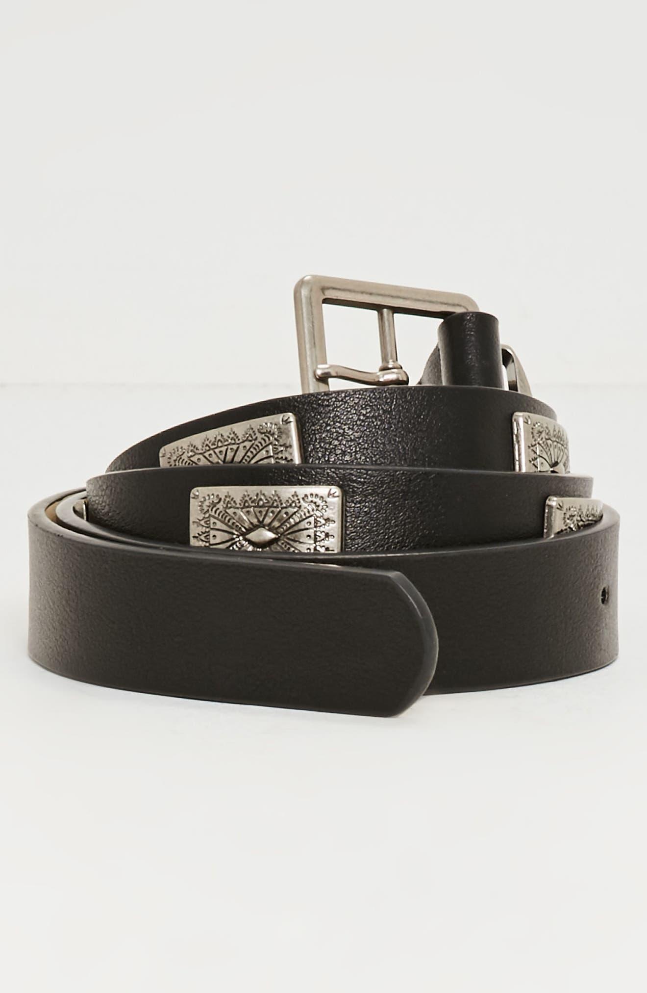 Western Faux Leather Belt,                             Alternate thumbnail 2, color,                             001