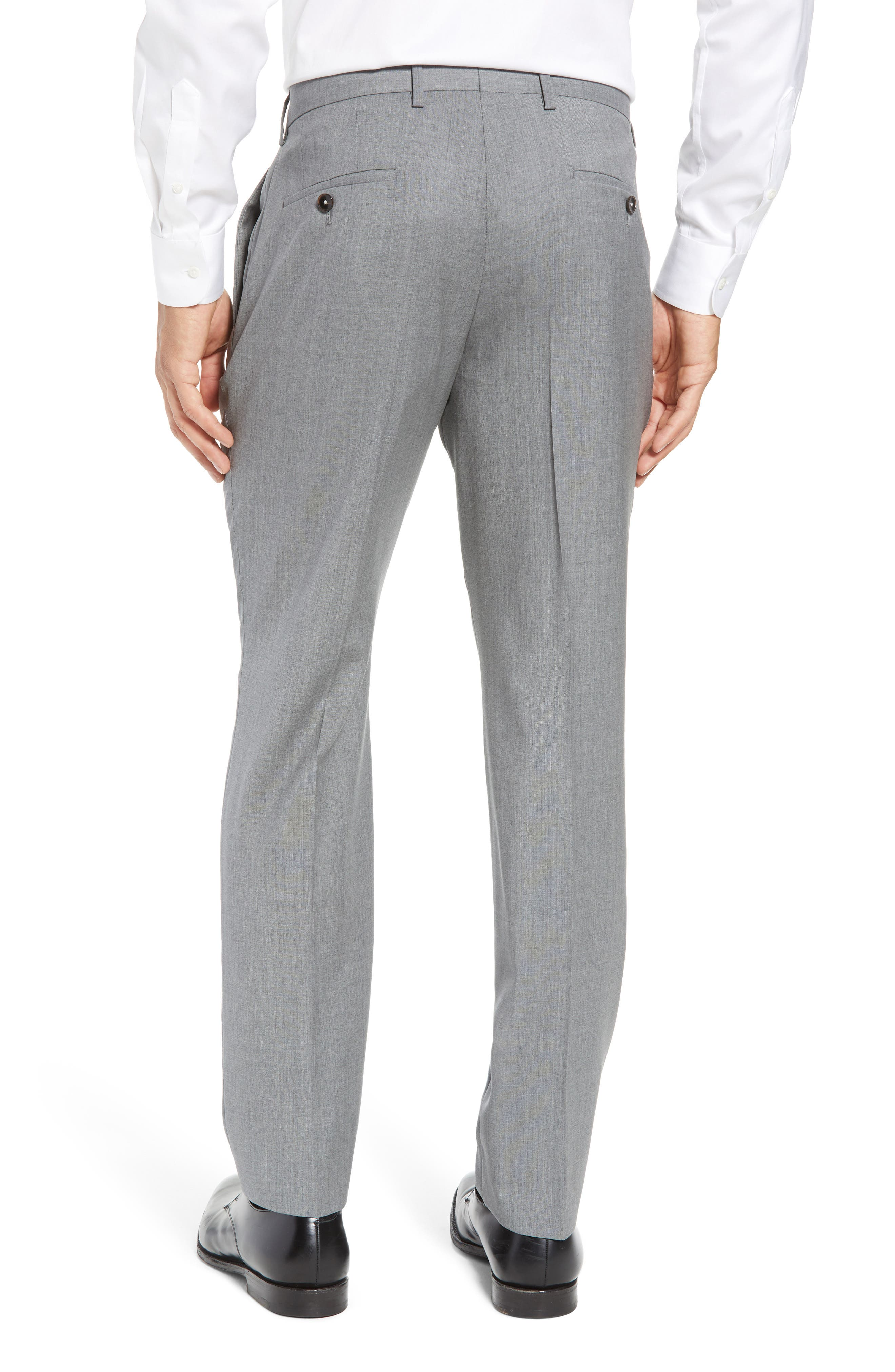 Genesis Flat Front Trim Fit Wool Trousers,                             Alternate thumbnail 3, color,                             GREY