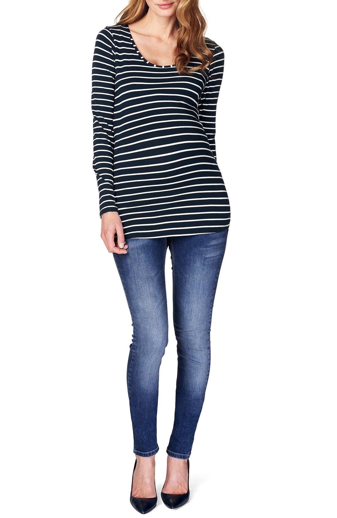 NOPPIES 'Lely' Stripe Scoop Neck Long Sleeve Tee, Main, color, DARK BLUE
