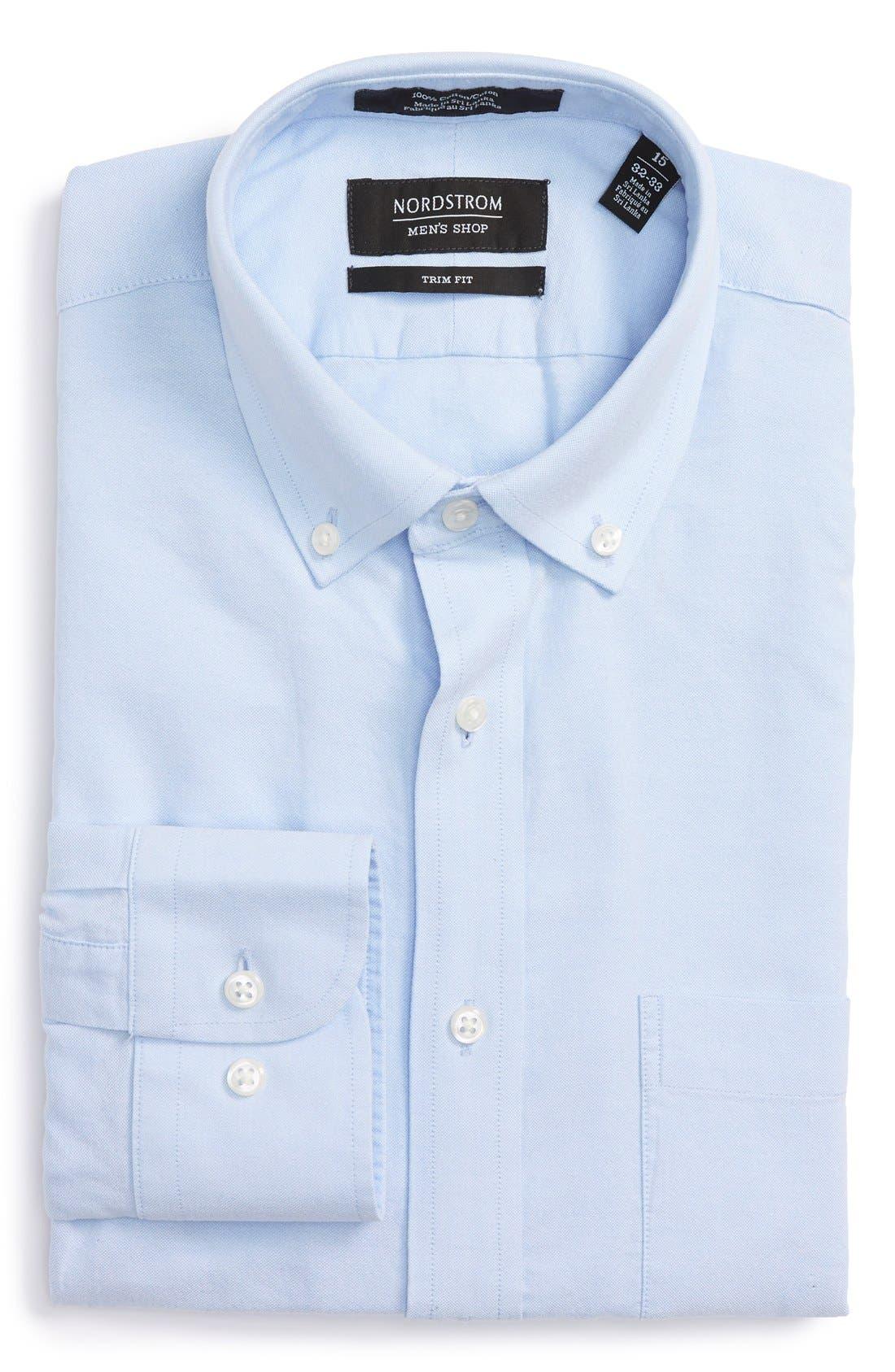 Trim Fit Solid Oxford Dress Shirt,                             Main thumbnail 2, color,