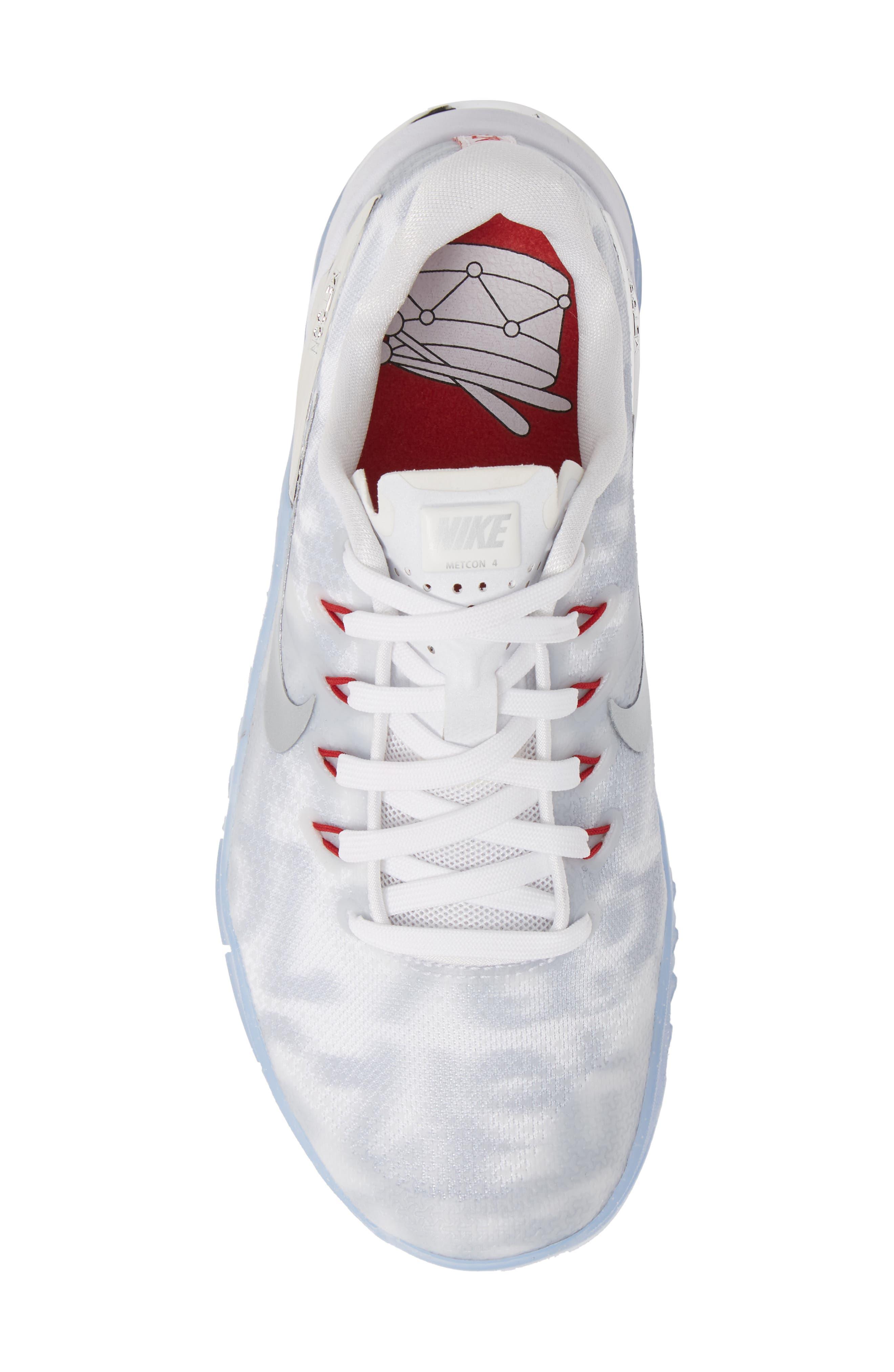Metcon 4 Training Shoe,                             Alternate thumbnail 5, color,                             WHITE METALLIC SILVER/ GYM RED