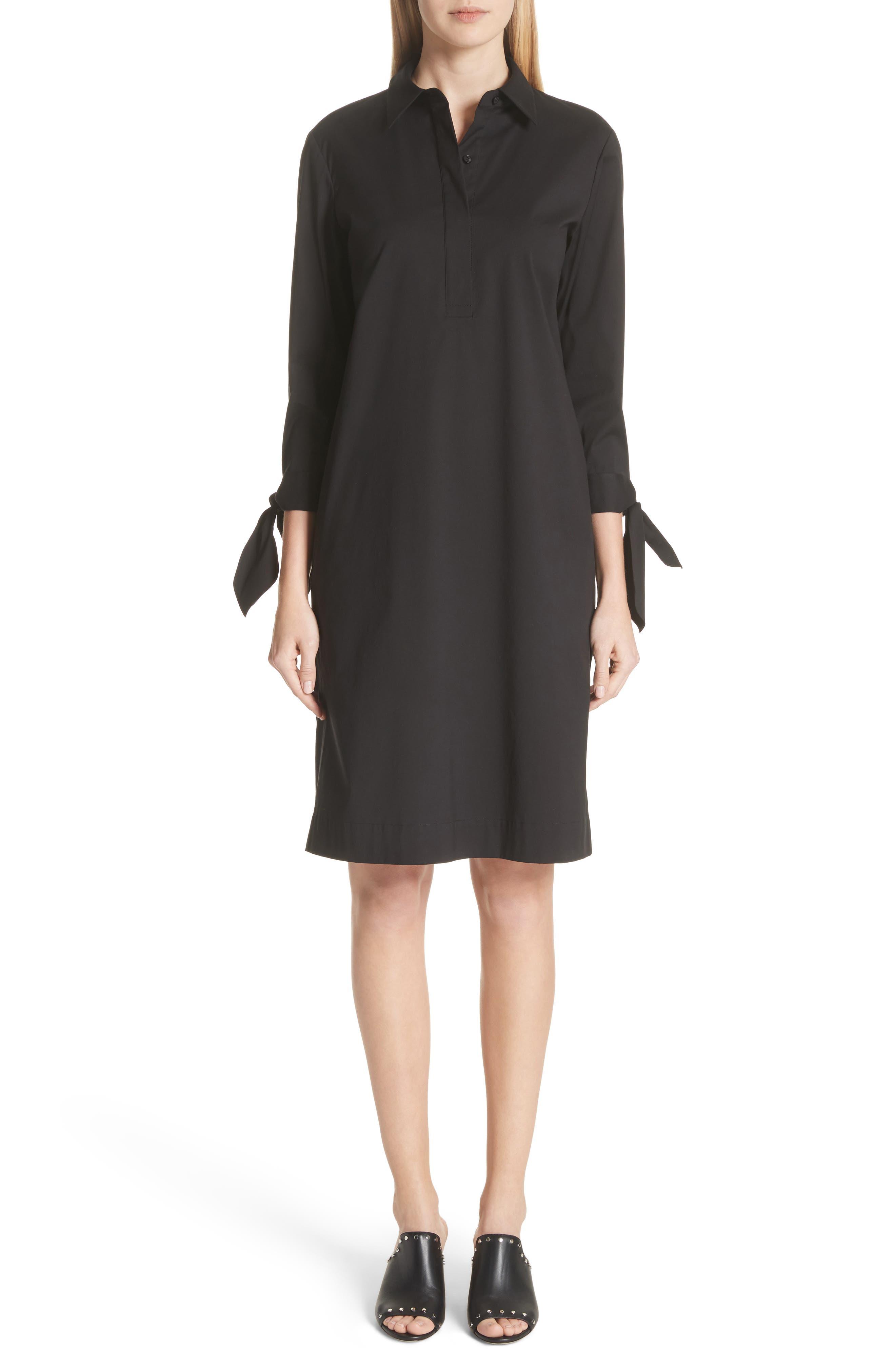 Talia Stretch Cotton Blend Dress,                             Main thumbnail 1, color,                             BLACK