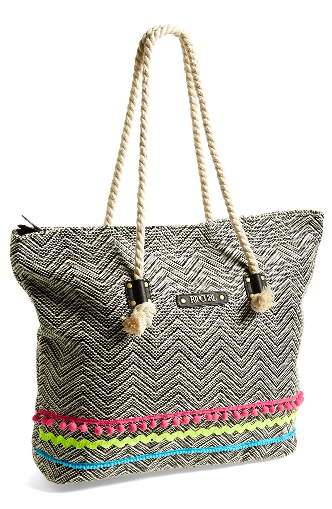 RIP CURL 'Haleiwa' Straw Beach Tote, Main, color, 001