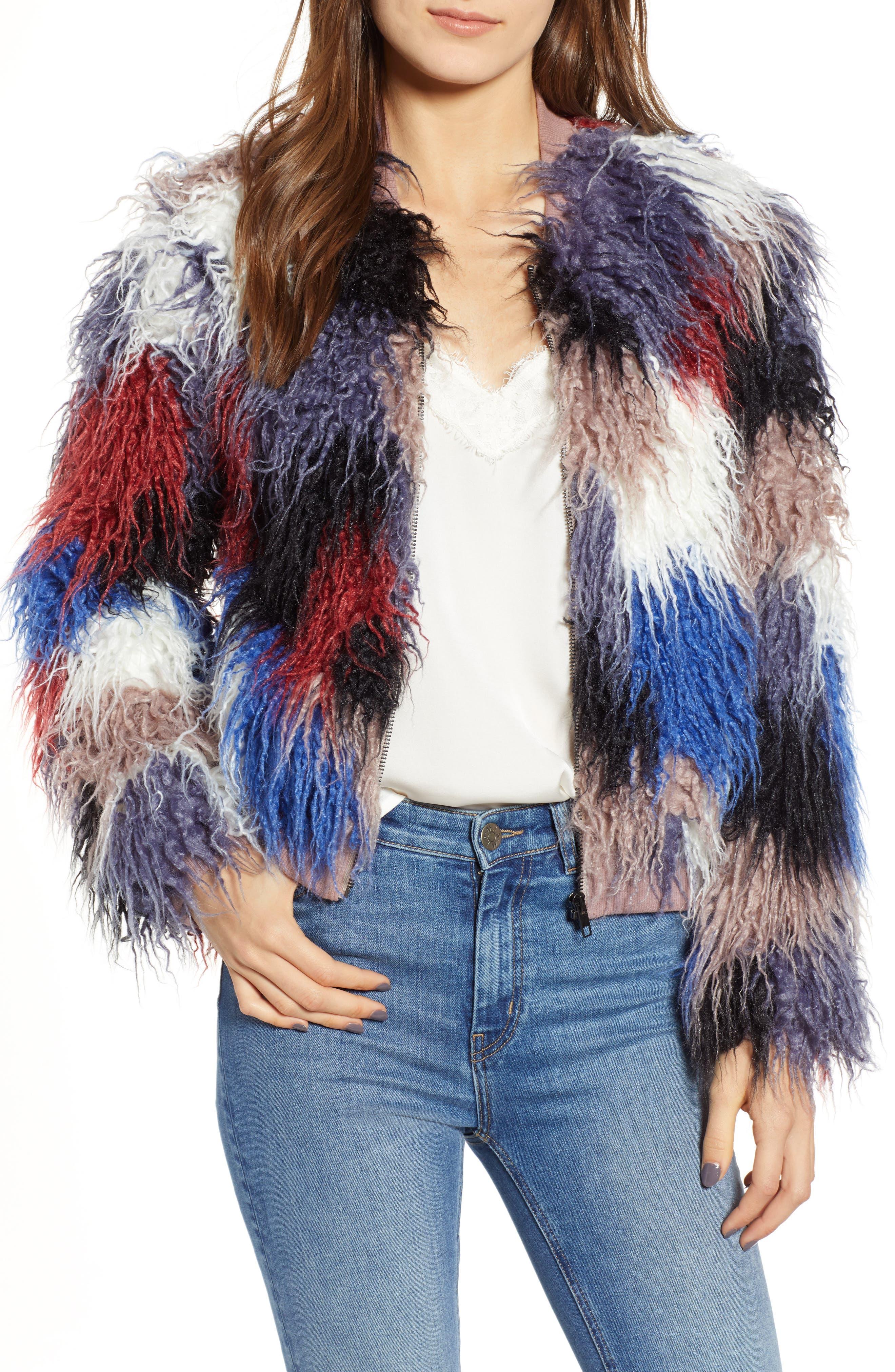 ASTR Shaggy Faux Fur Jacket in Blue Multi