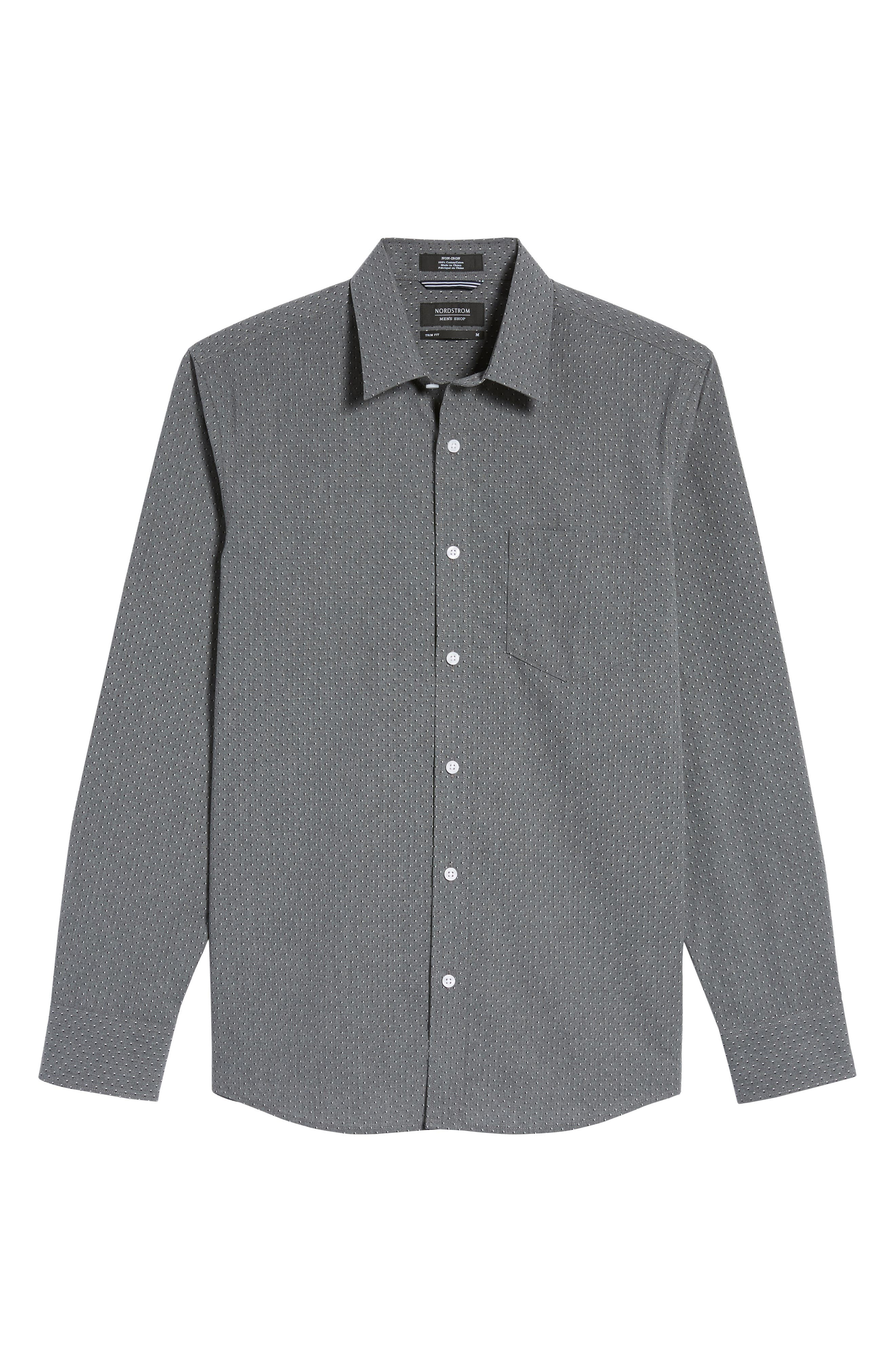 Trim Fit Non-Iron Dot Print Sport Shirt,                             Alternate thumbnail 6, color,                             030
