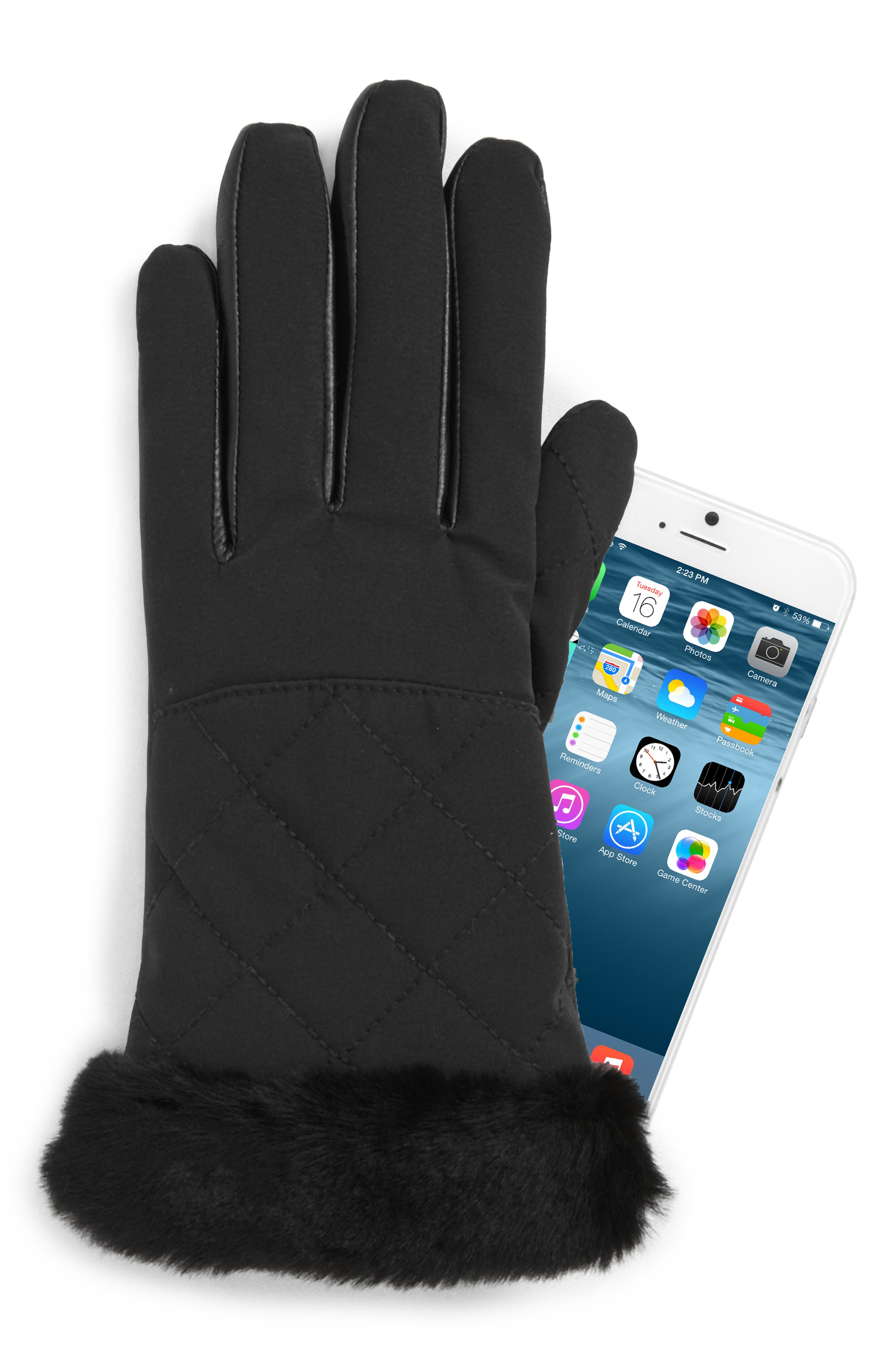 UGG<sup>®</sup> Water Resistant Touchscreen Quilted Nylon, Leather & Genuine Shearling Gloves,                             Alternate thumbnail 2, color,                             001