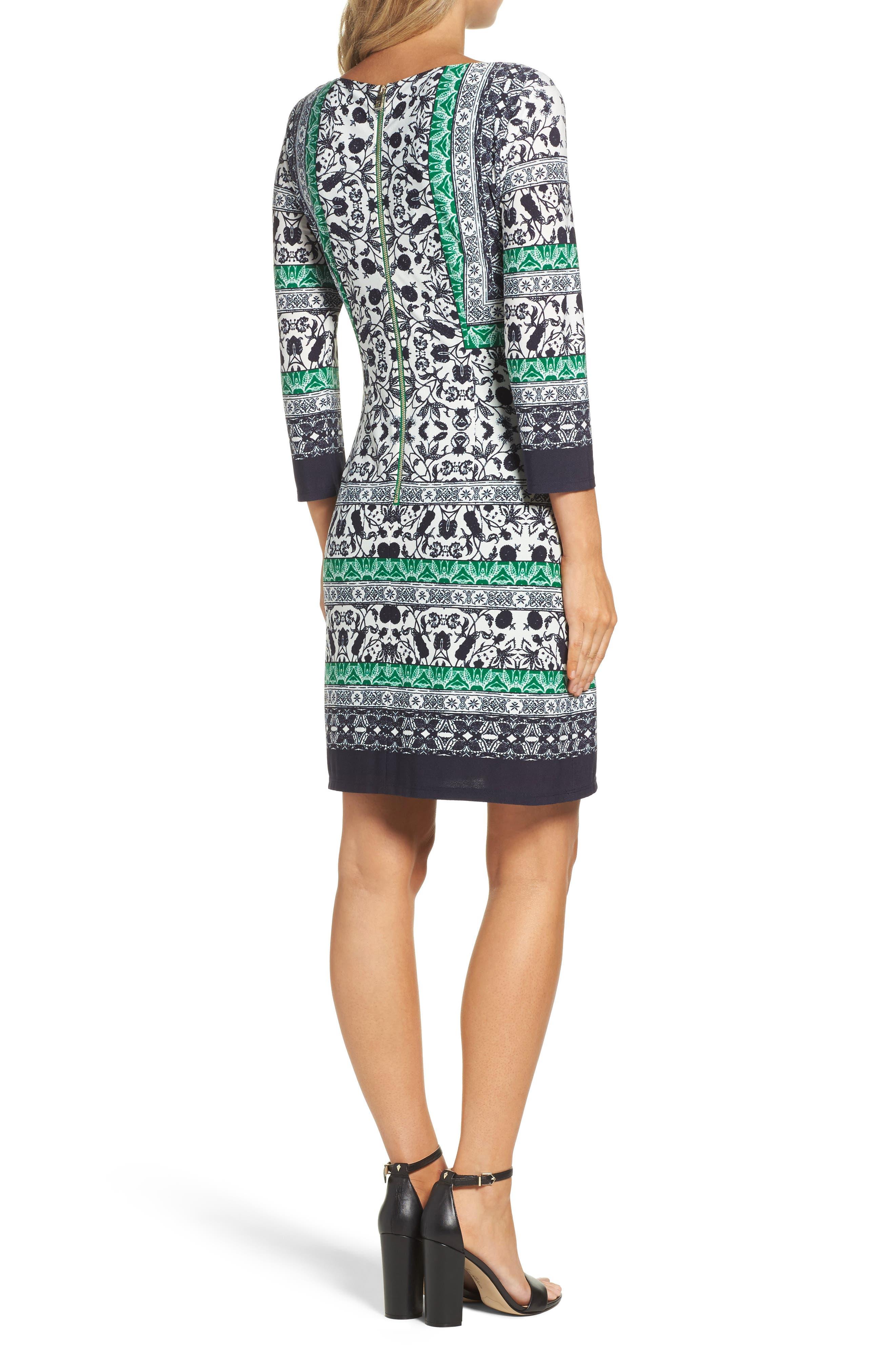 Print Sheath Dress,                             Alternate thumbnail 2, color,                             343