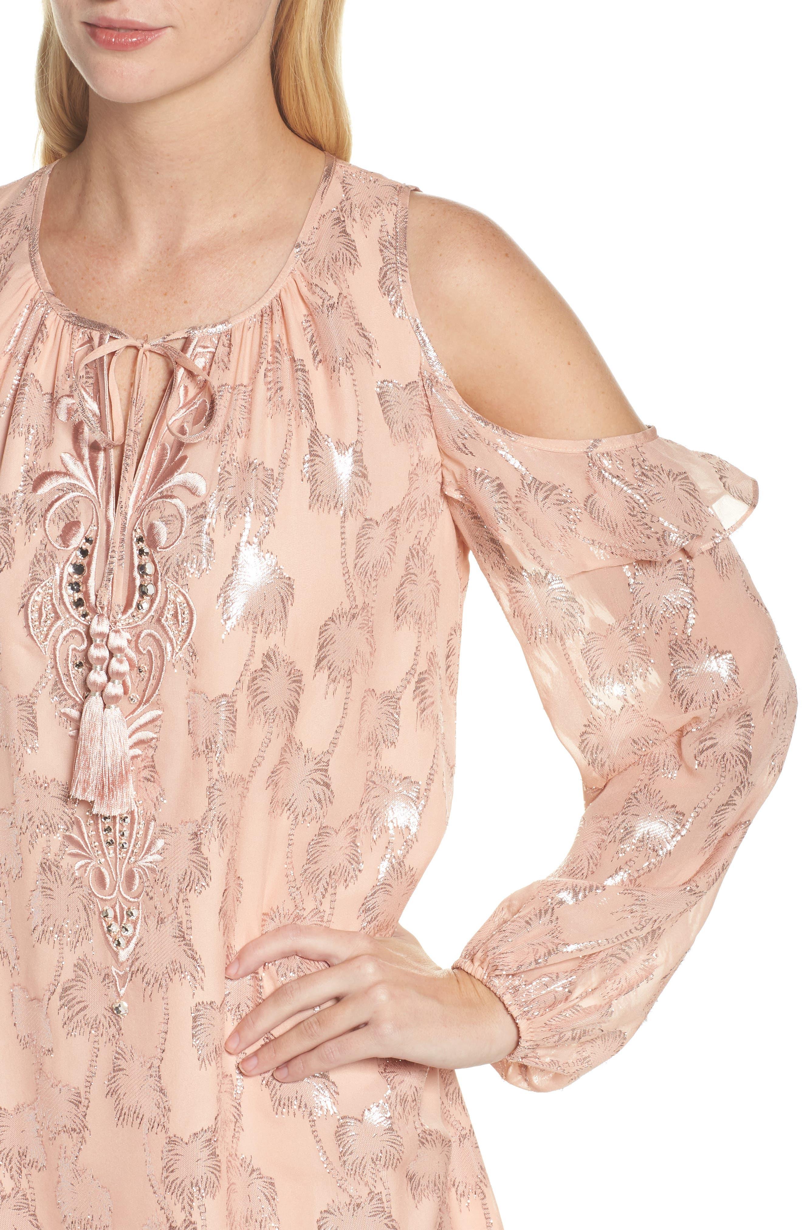 Marlyse Cold Shoulder Silk Dress,                             Alternate thumbnail 4, color,