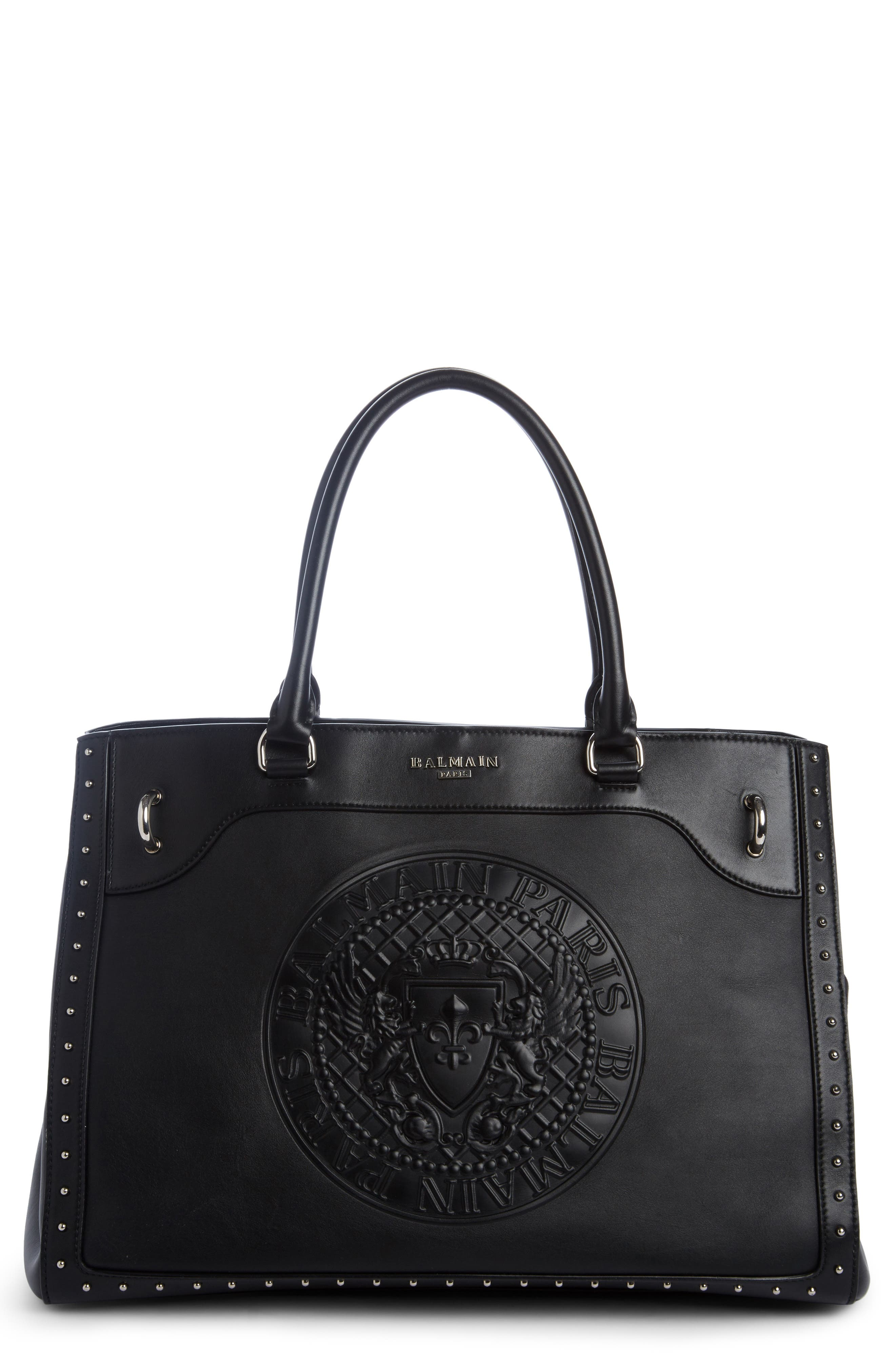 Renaissance Leather Tote,                             Main thumbnail 1, color,                             NOIR