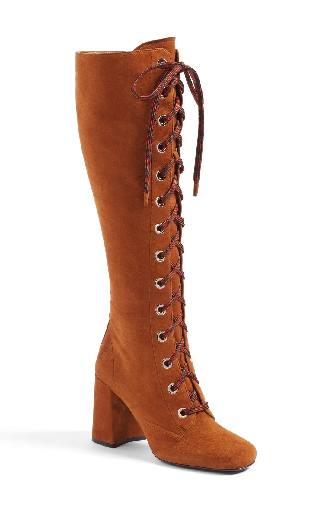 Lace-Up Knee High Boot, Main, color, 200
