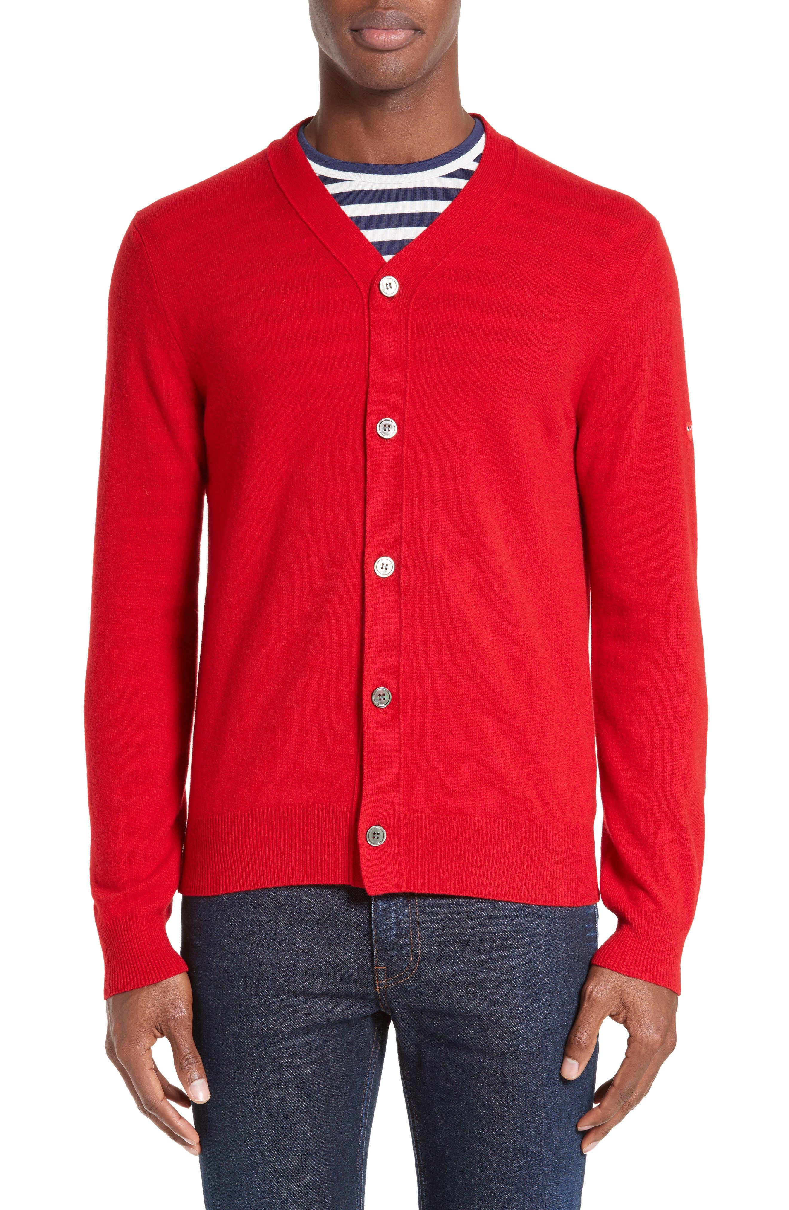 Wool Cardigan,                             Alternate thumbnail 4, color,                             RED