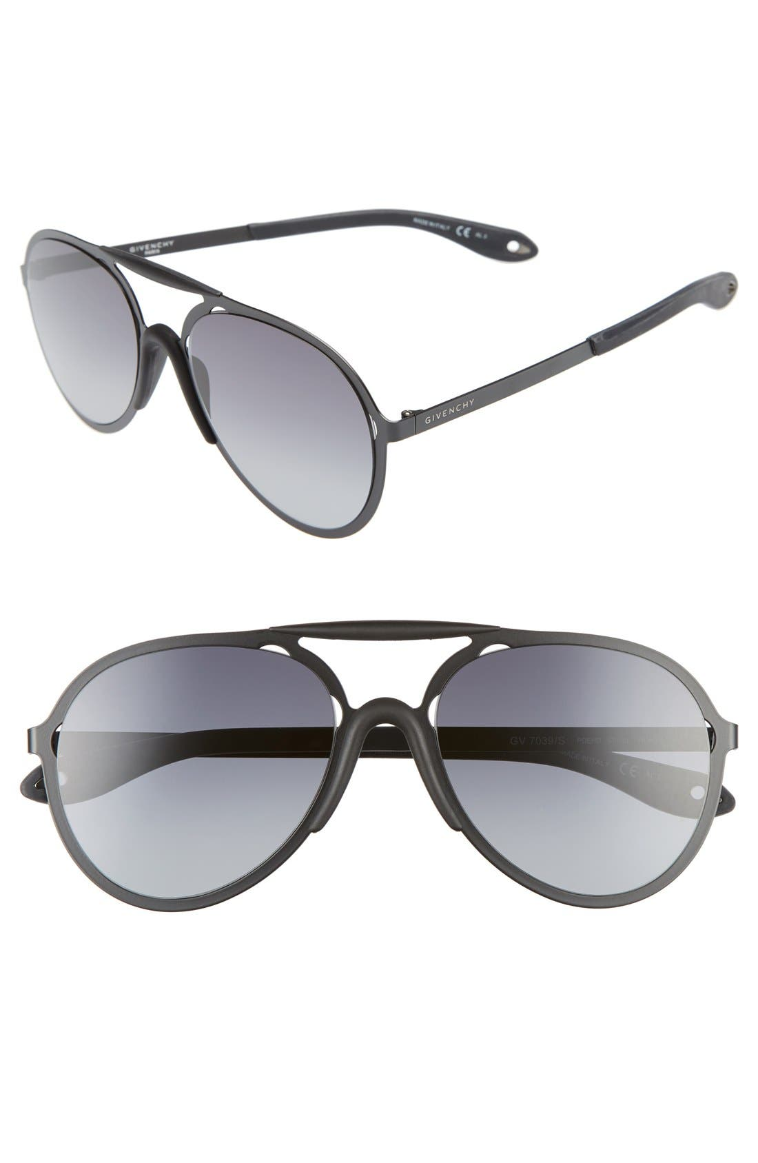 57mm Sunglasses,                         Main,                         color, BLACK/ GREY GRADIENT